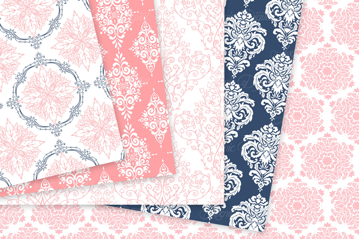 Coral and Navy Damask Patterns - Seamless Digital Papers example image 8