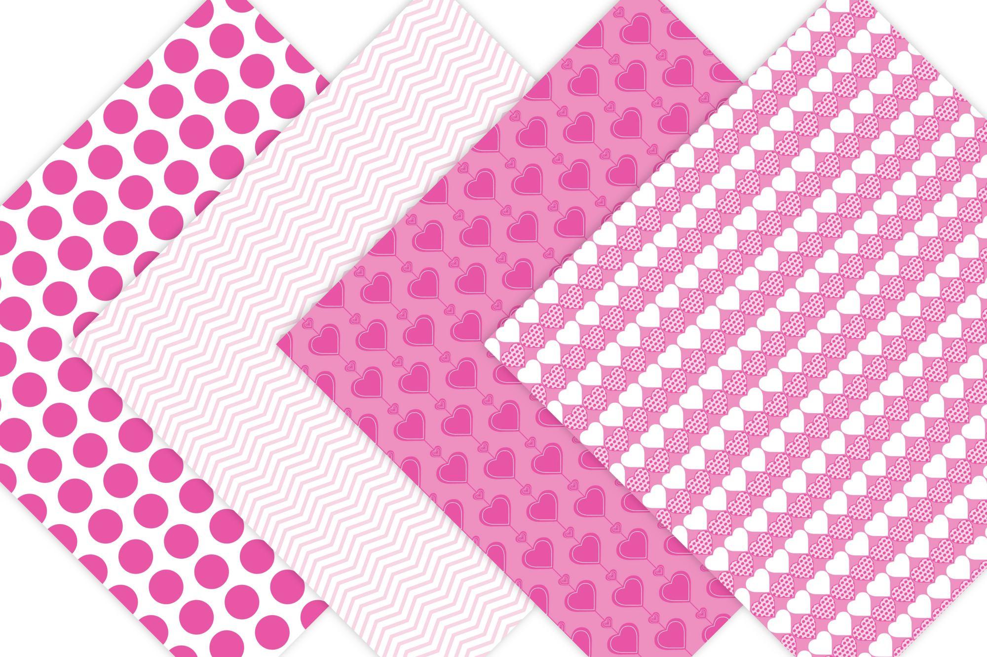 Pink Valentine Digital Paper example image 5
