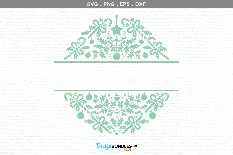 Christmas split monogram frame - svg, printable example image 2
