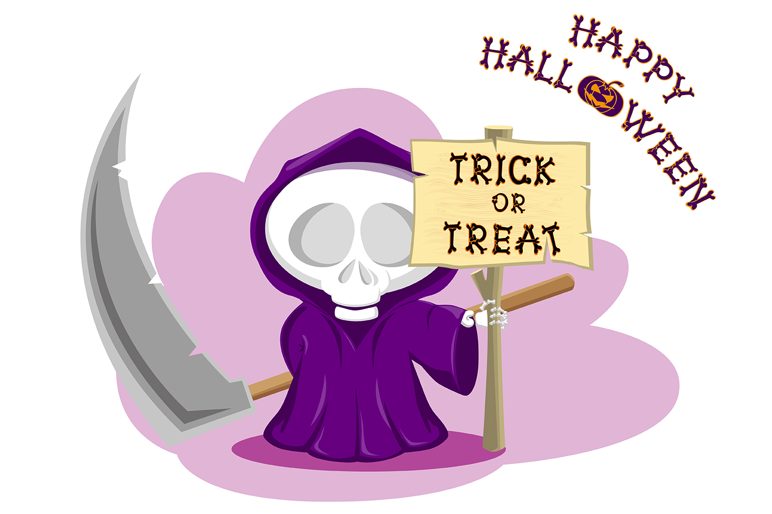 Set of 12 figure funny little death with large scythe and halloween pumpkin. Vector illustration example image 5
