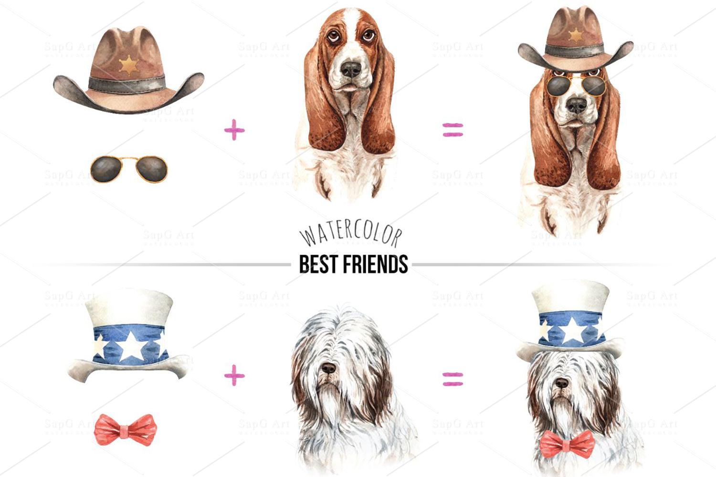 Dog watercolor. Pet clipart Set C example image 3