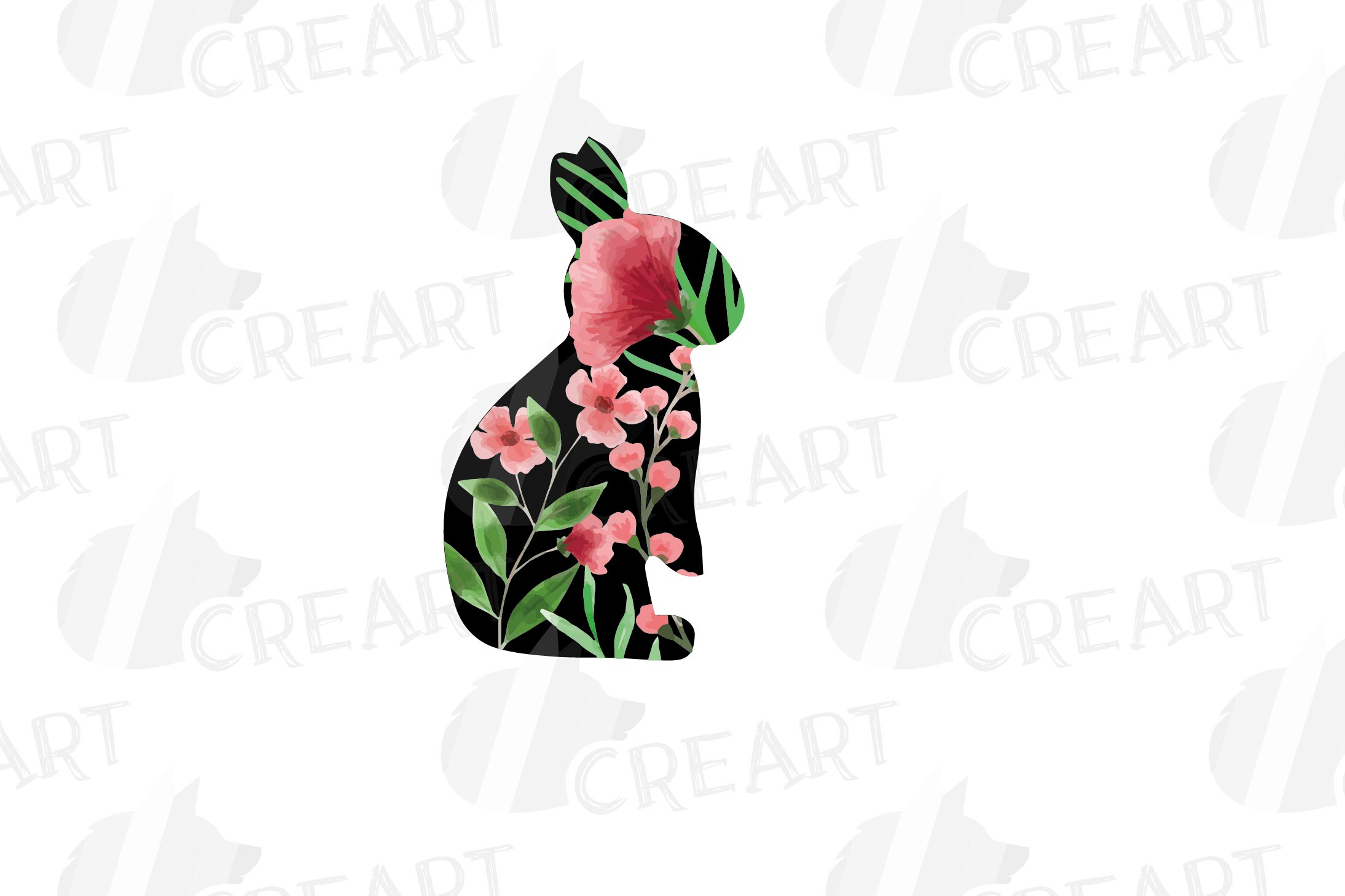 Floral rabbit family, sister, brother,papa and mama bunny example image 7