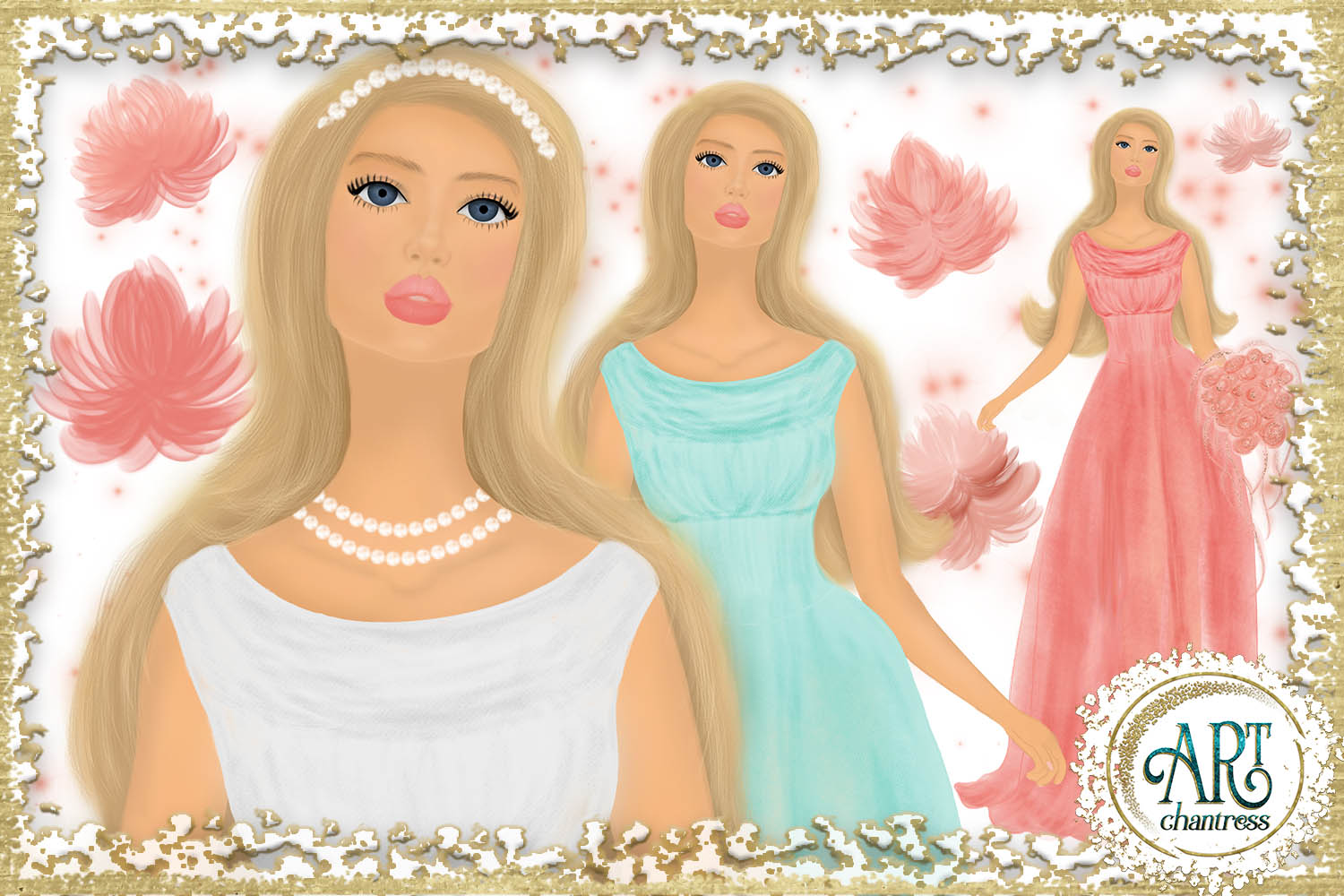 Wedding party, bride clipart in white, coral and teal example image 2