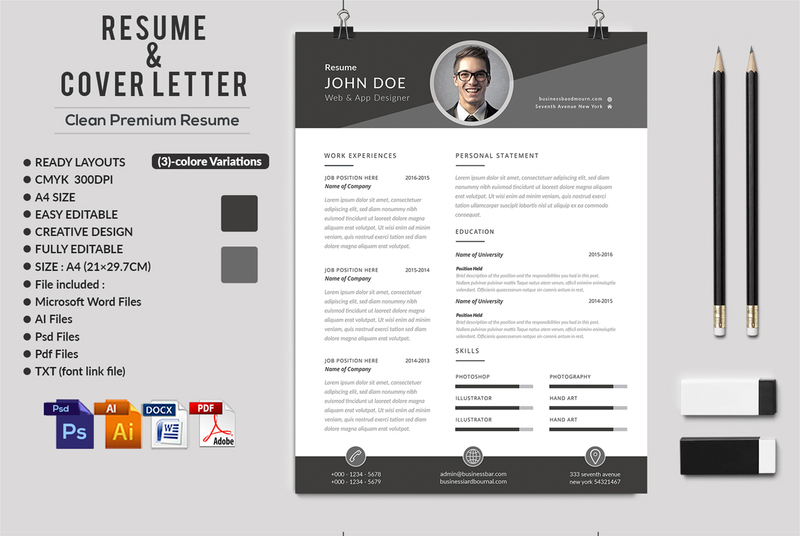 12 Clean Rsume Invoice and Letterhead Bundle example image 11
