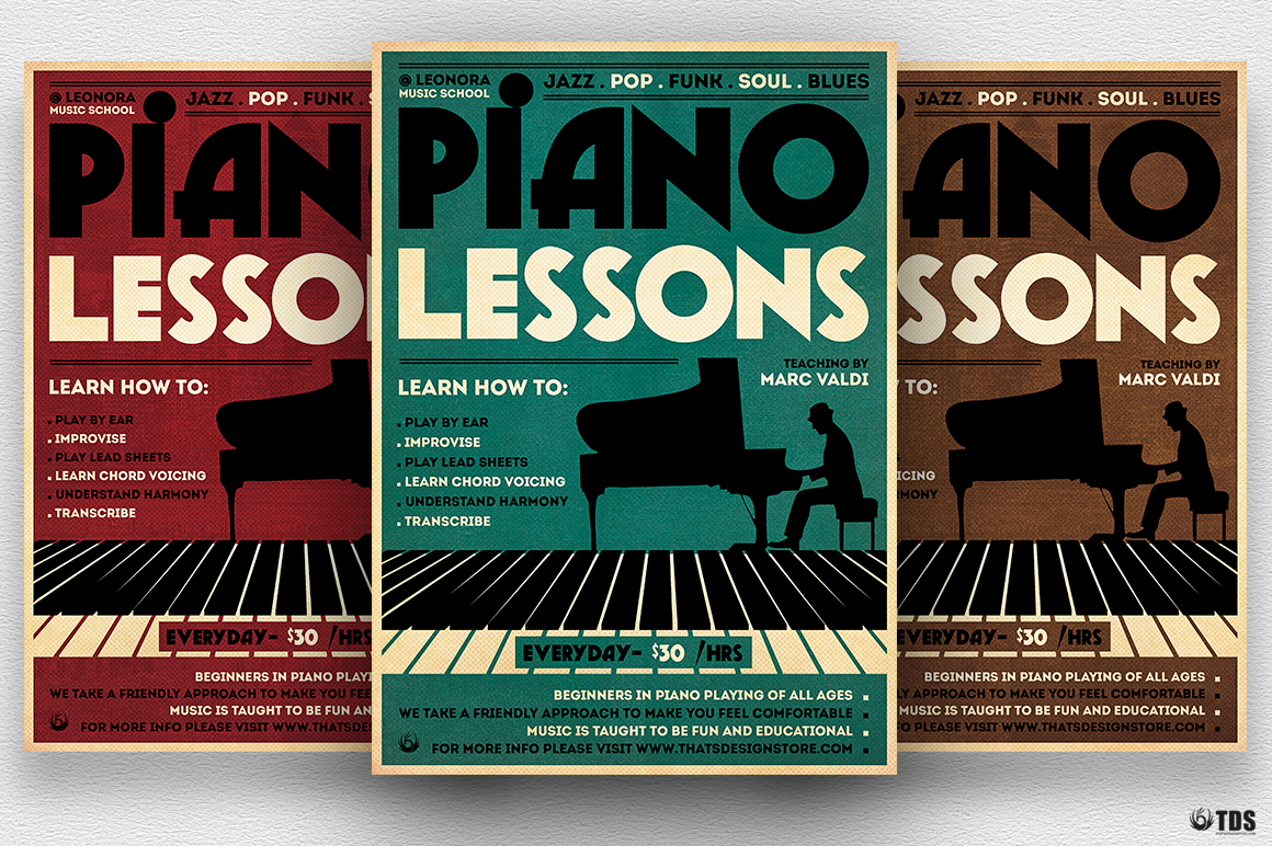 Piano Lessons Flyer Template example image 1