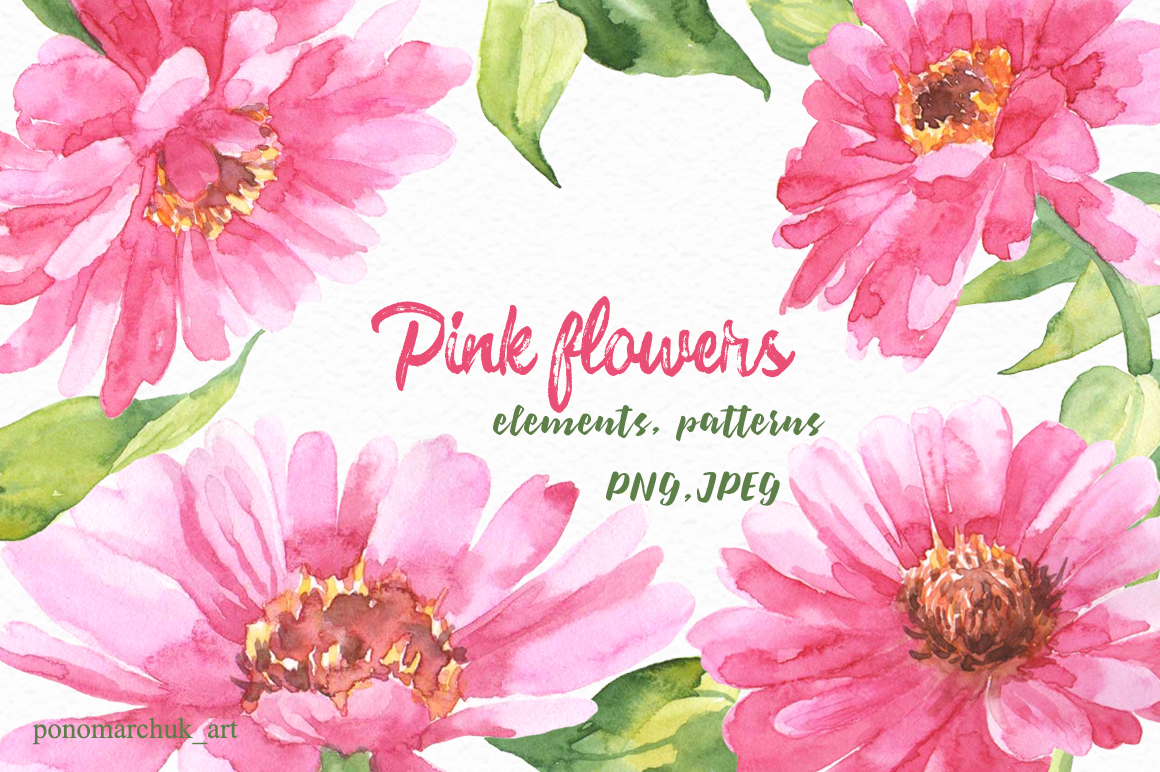 Pink Flowers Watercolor By Colibriwater Design Bundles