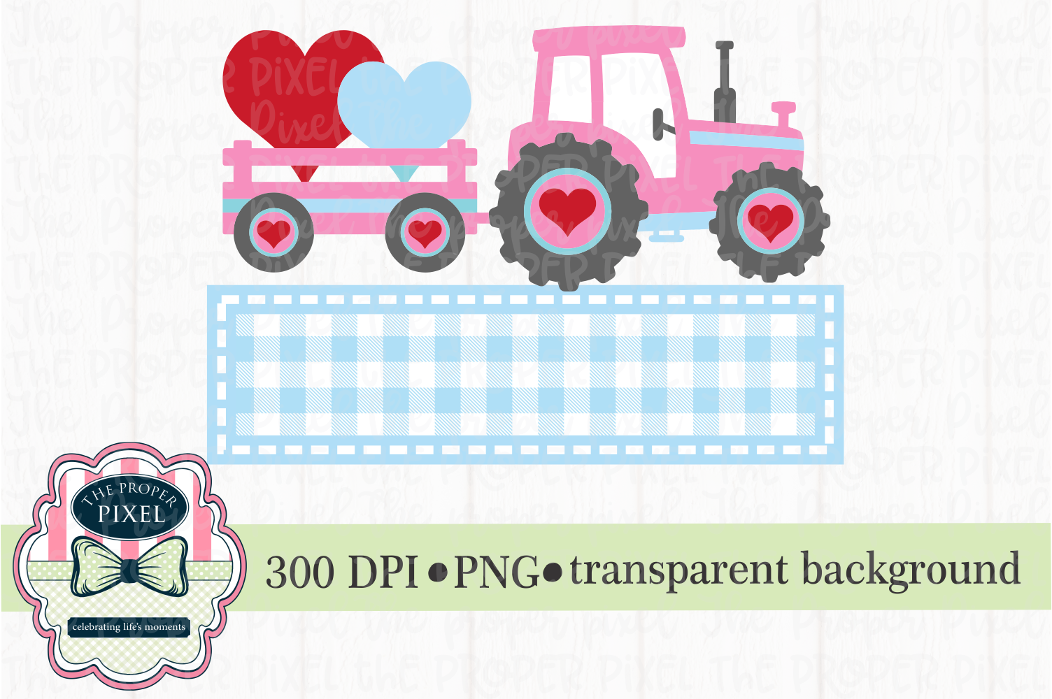 Tractor Valentine Design for girls, PNG sublimation download example image 1