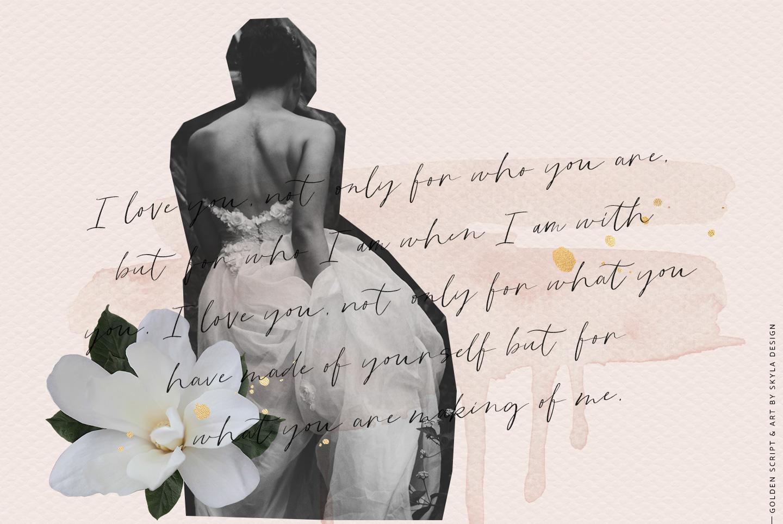 Golden, a romantic wedding script font example image 2