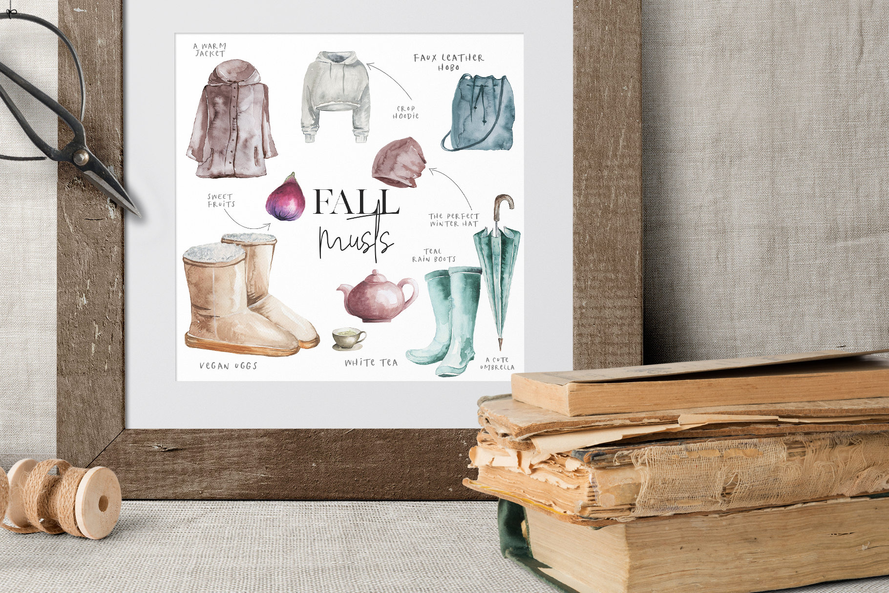 Classics of the fall - Watercolor Clipart example image 5