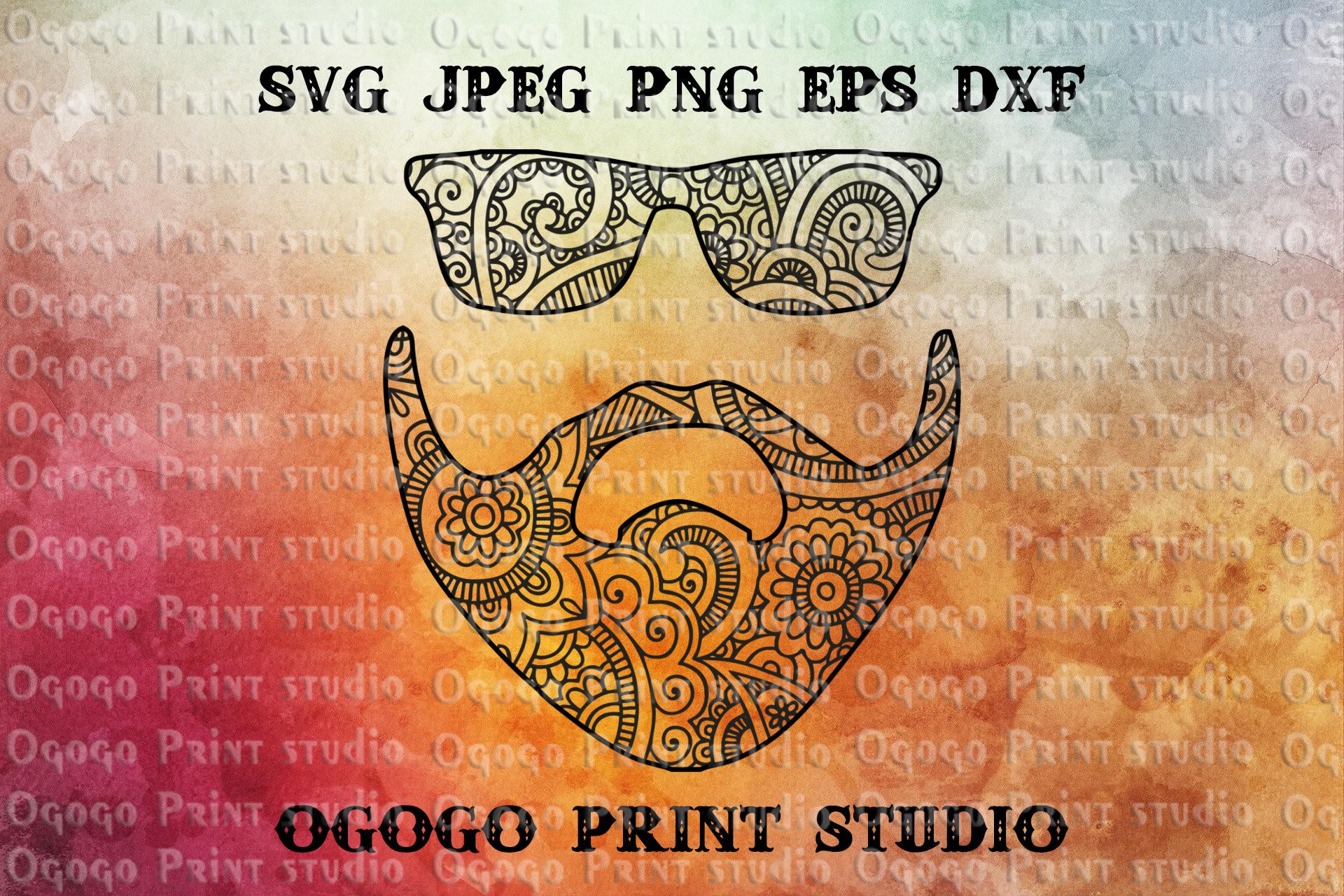 Beard SVG, Mustache SVG, Zentangle SVG, Mandala Svg, Father example image 1