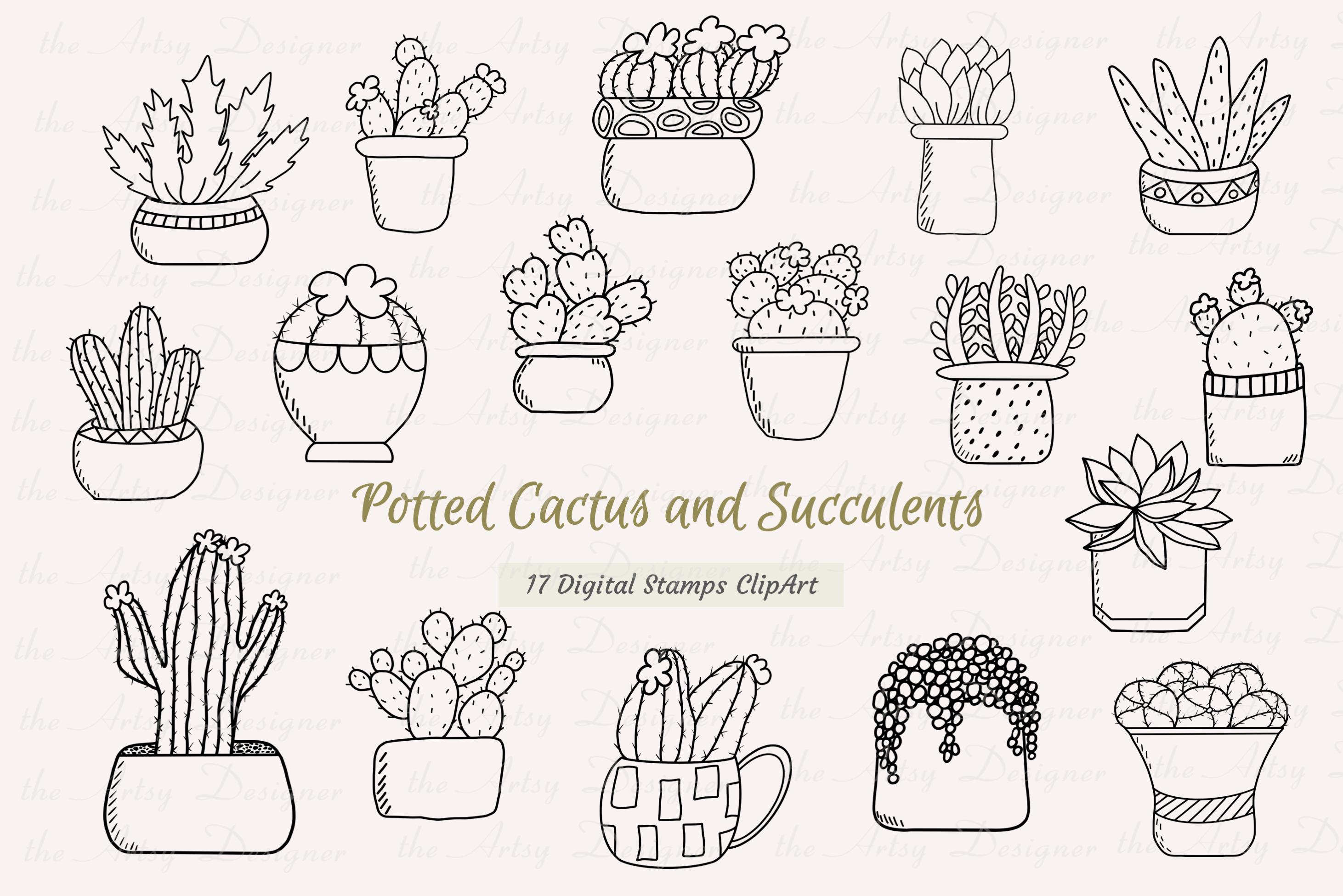 17 Digital Stamps Potted Cactus Succulents Clipart Bundle example image 1