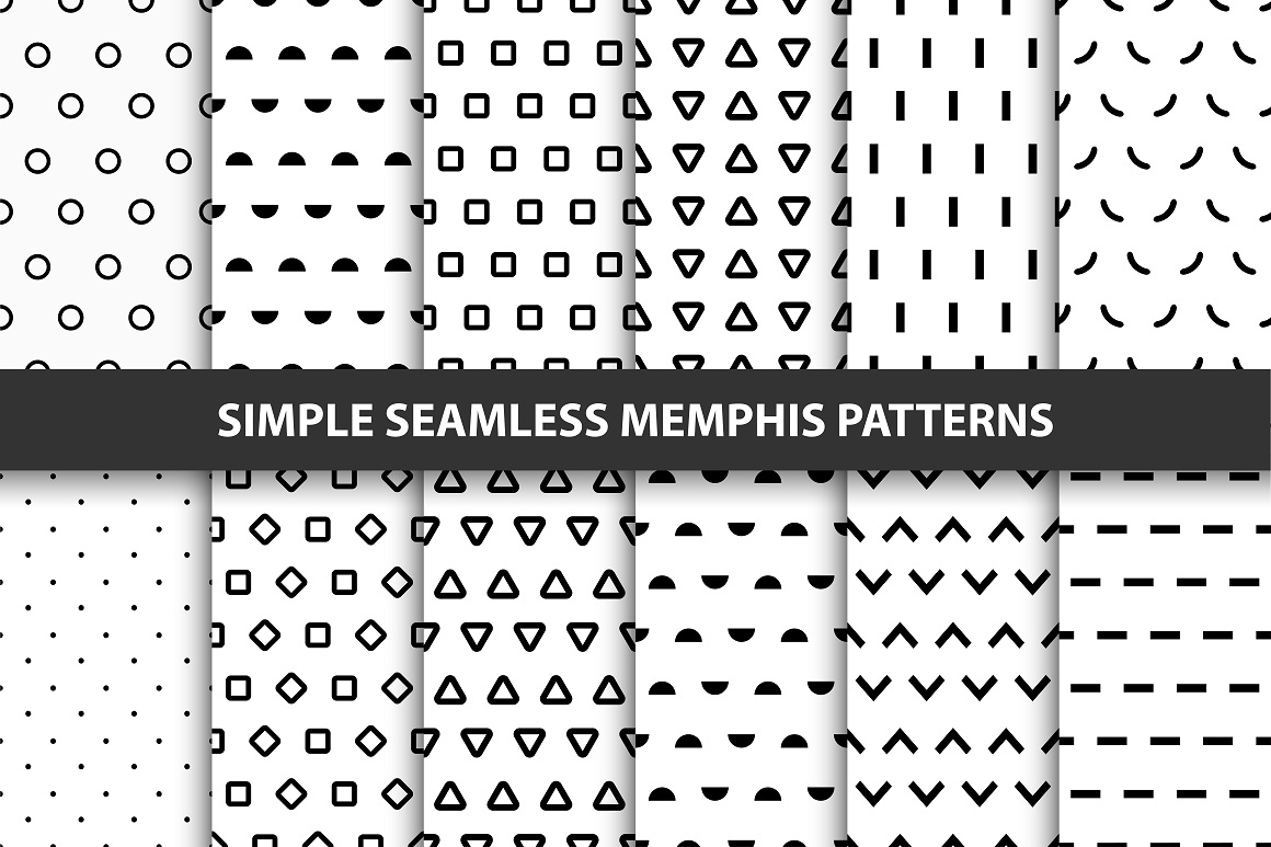 12 Simple seamless trendy patterns. example image 1