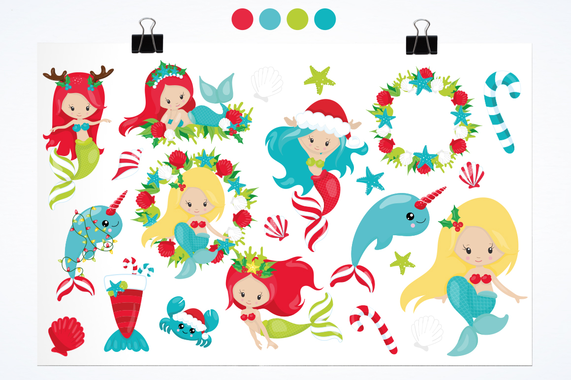 Mermaid Christmas graphic and illustrations example image 4