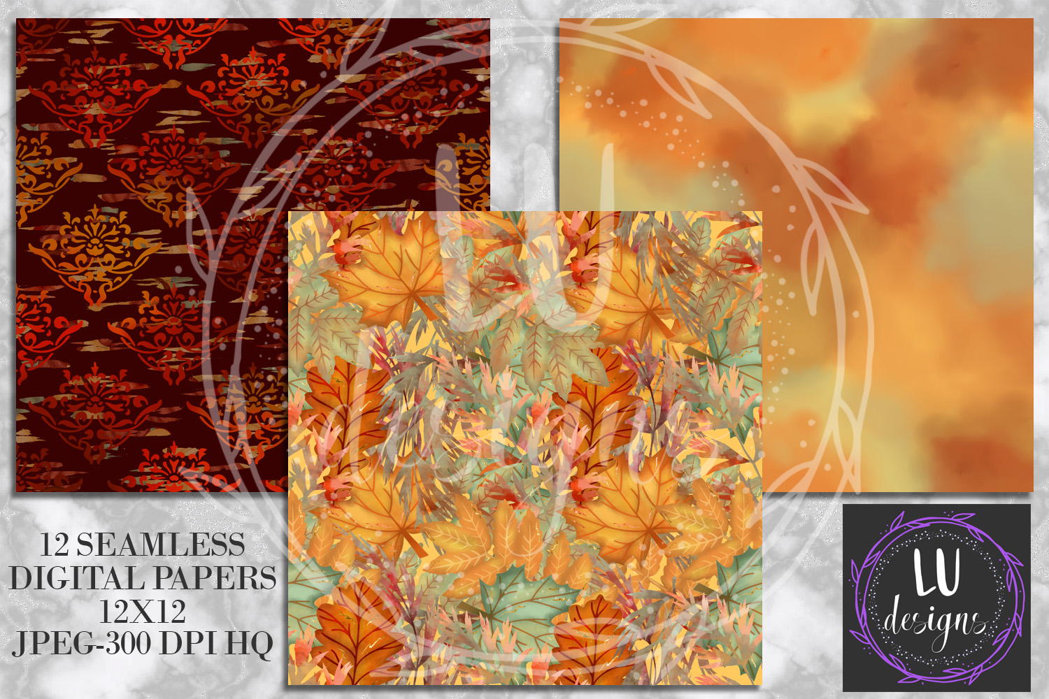 Fall Digital Papers, Autumn Backgrounds, Fall Patterns example image 2