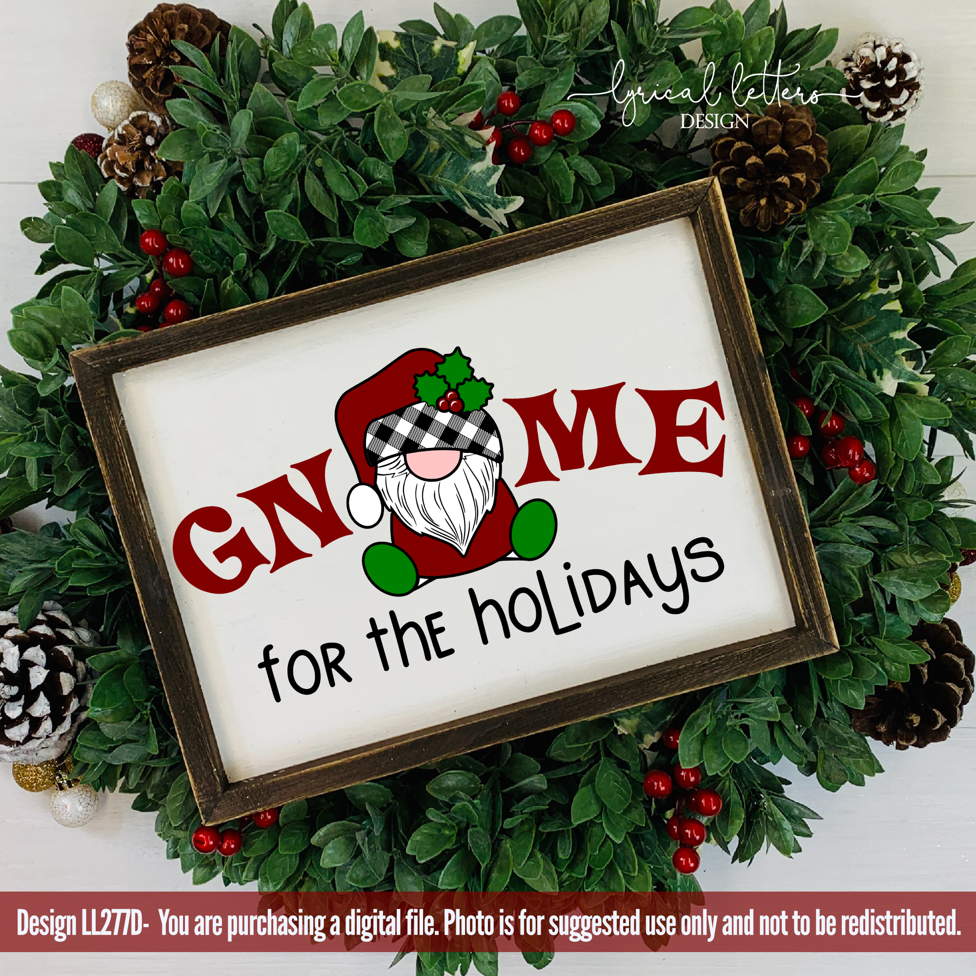 NEW! Gnome For the Holidays Santa Gnome SVG Cut File LL277D example image 2