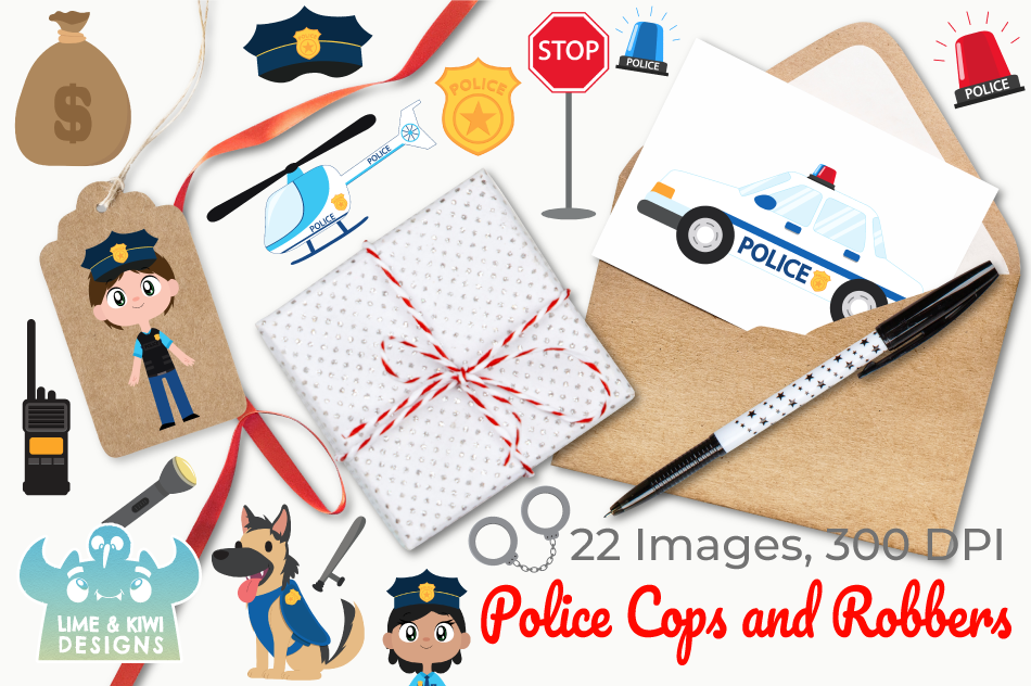 Police Cops and Robbers Clipart, Instant Download Vector Art example image 4