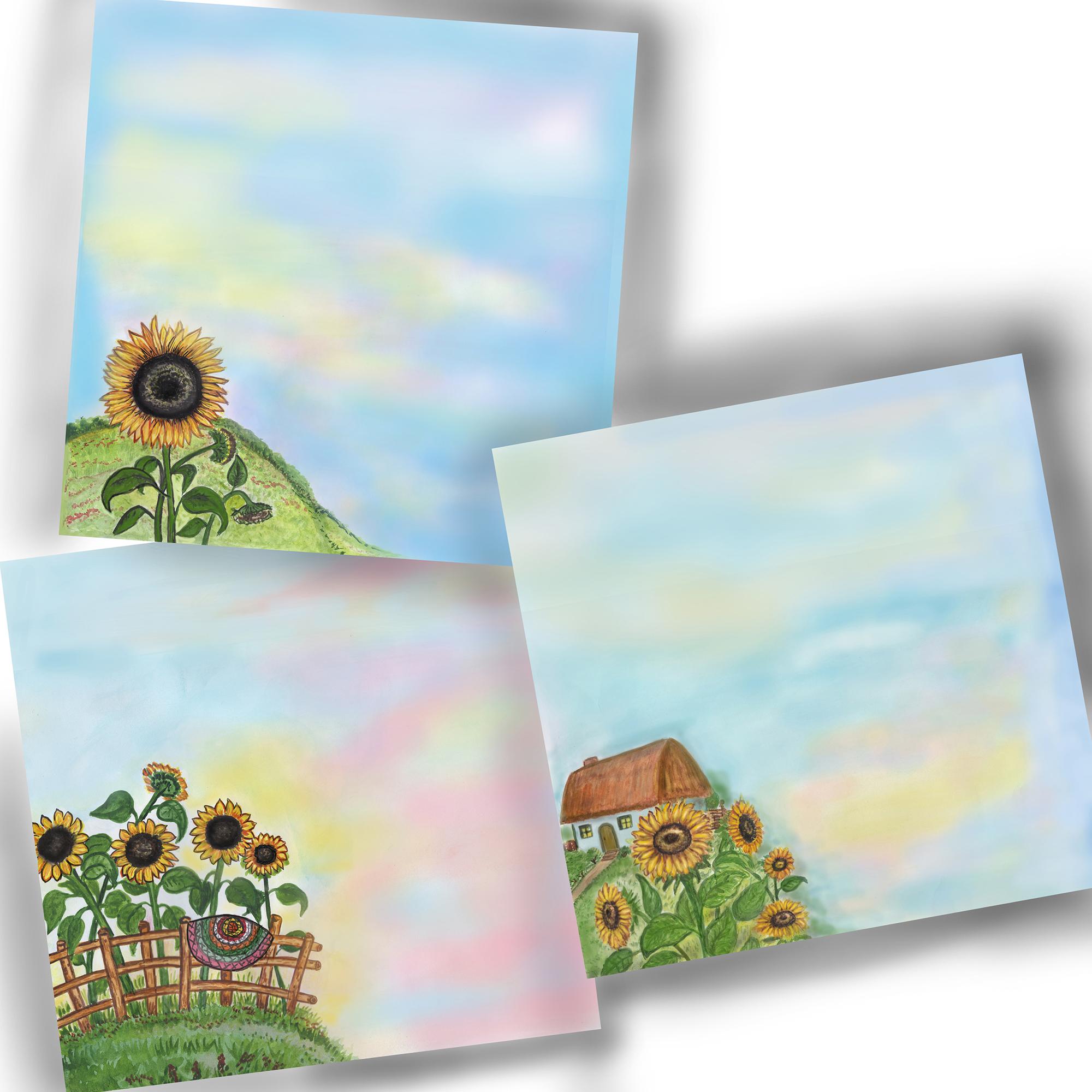 Sunflowers digital paper, set 7 pcs, rustic digital paper example image 5
