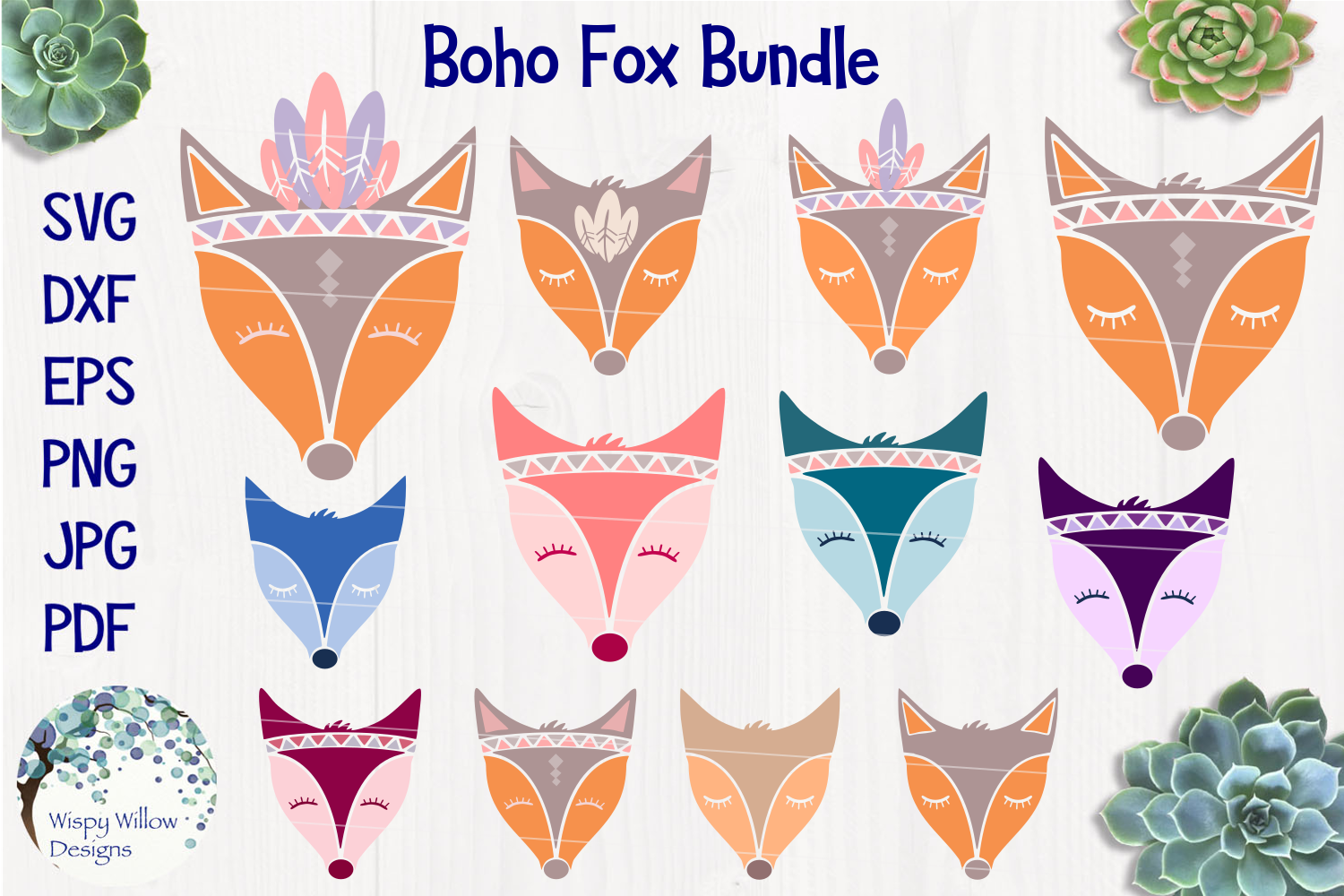 Boho Fox SVG Bundle example image 1