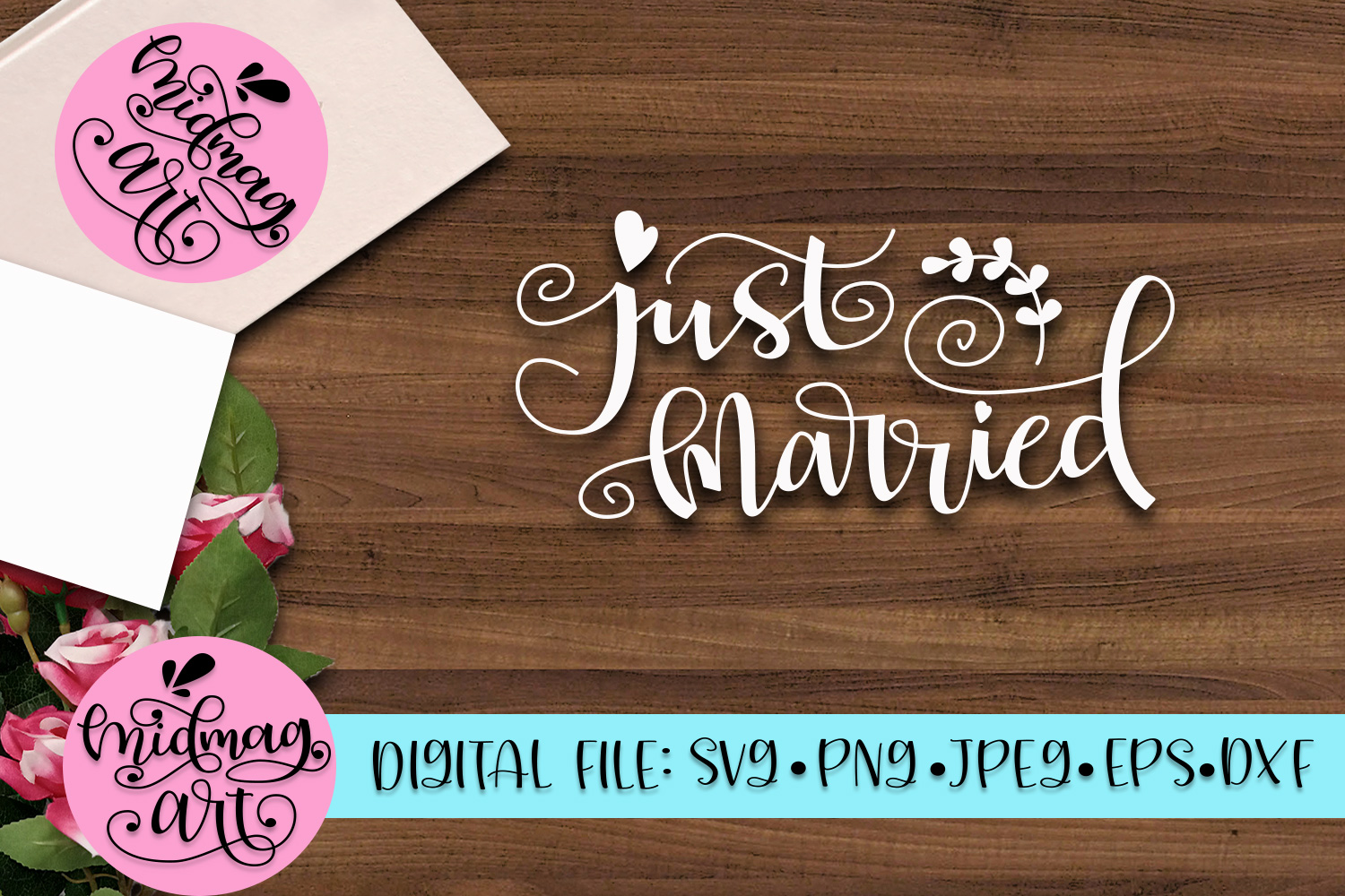 Just married svg, png, jpeg, eps and dxf example image 2