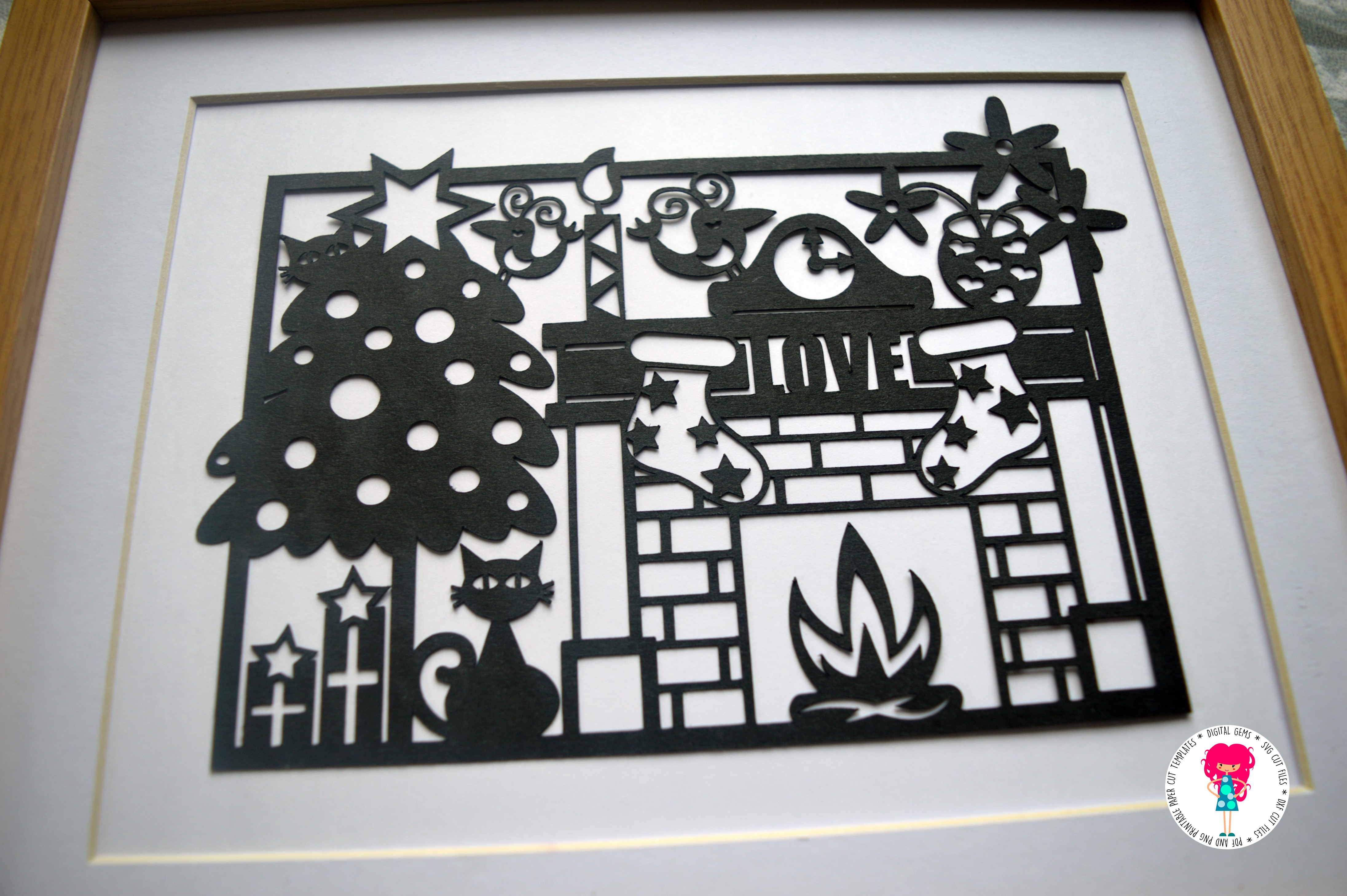 Cat Christmas Paper Cut SVG / DXF / EPS Files example image 2