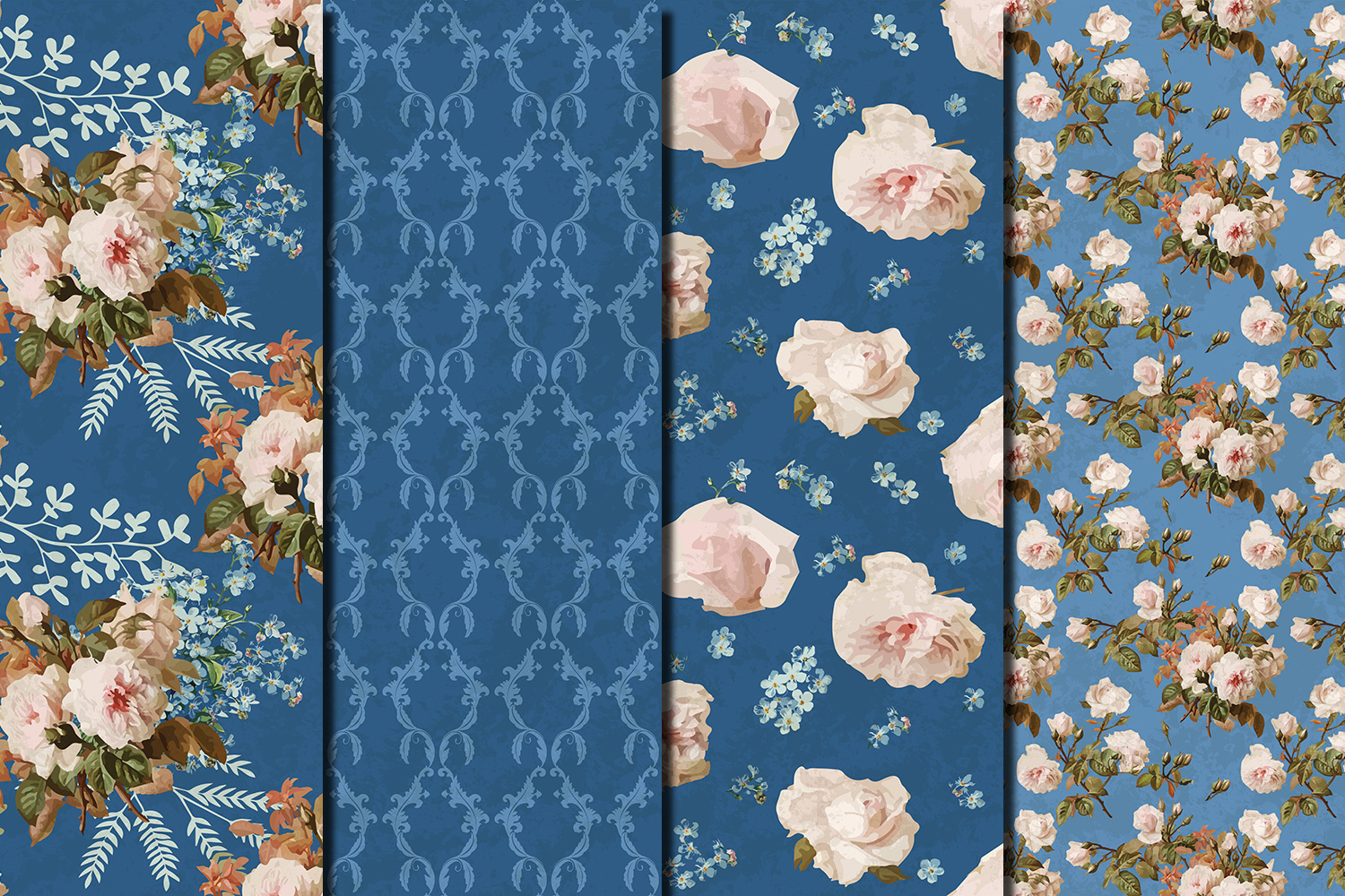 Shabby chic roses seamless patterns example image 4