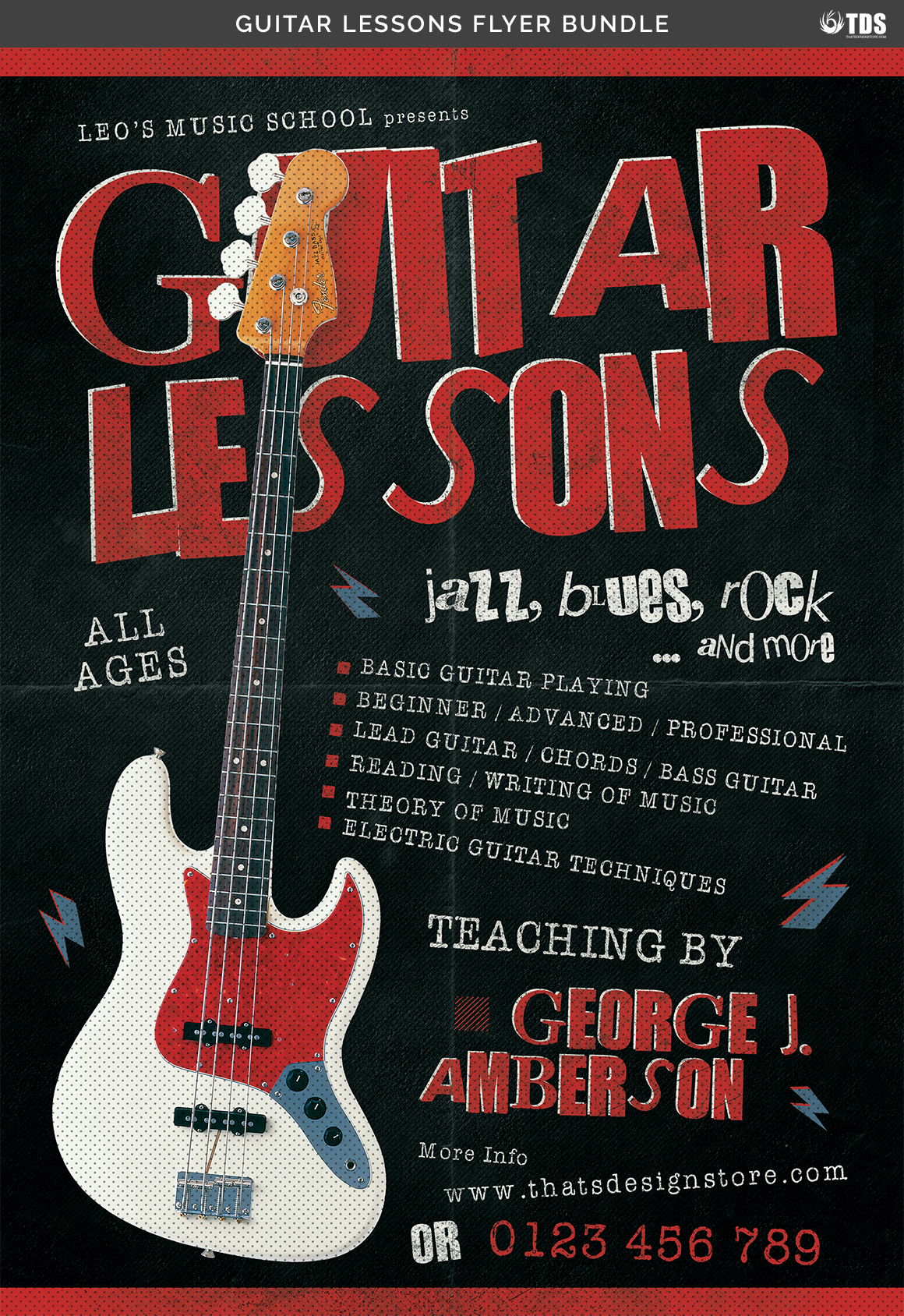 Guitar Lessons Flyer Bundle example image 14
