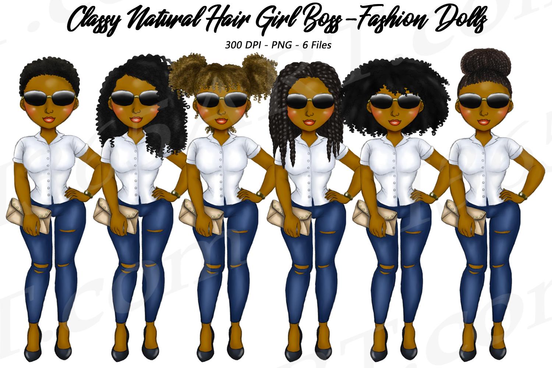 Classy Girl Boss Natural Hair Clipart, Black Girl Dolls example image 1