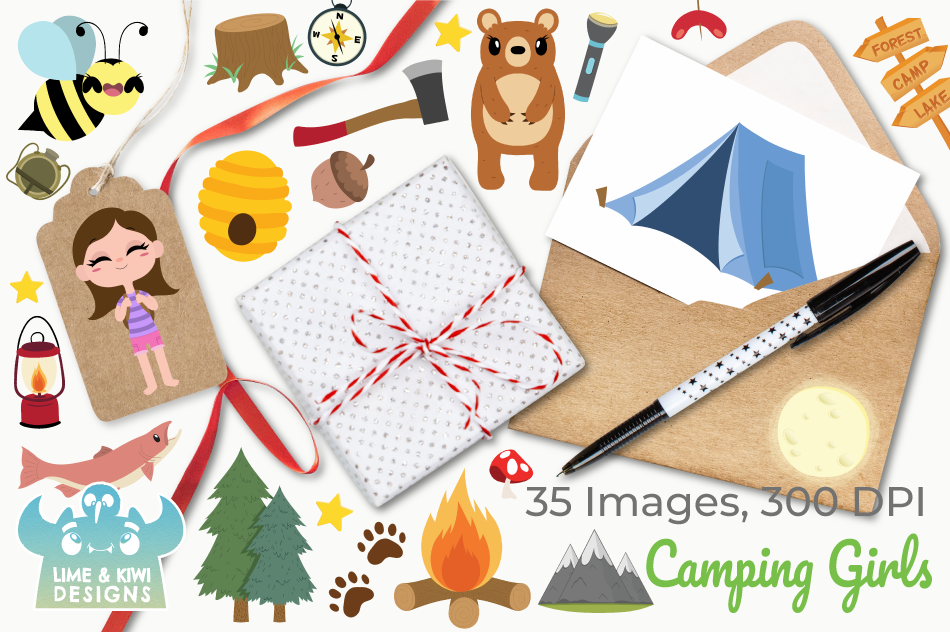 Camping Girls Clipart, Instant Download Vector Art example image 4