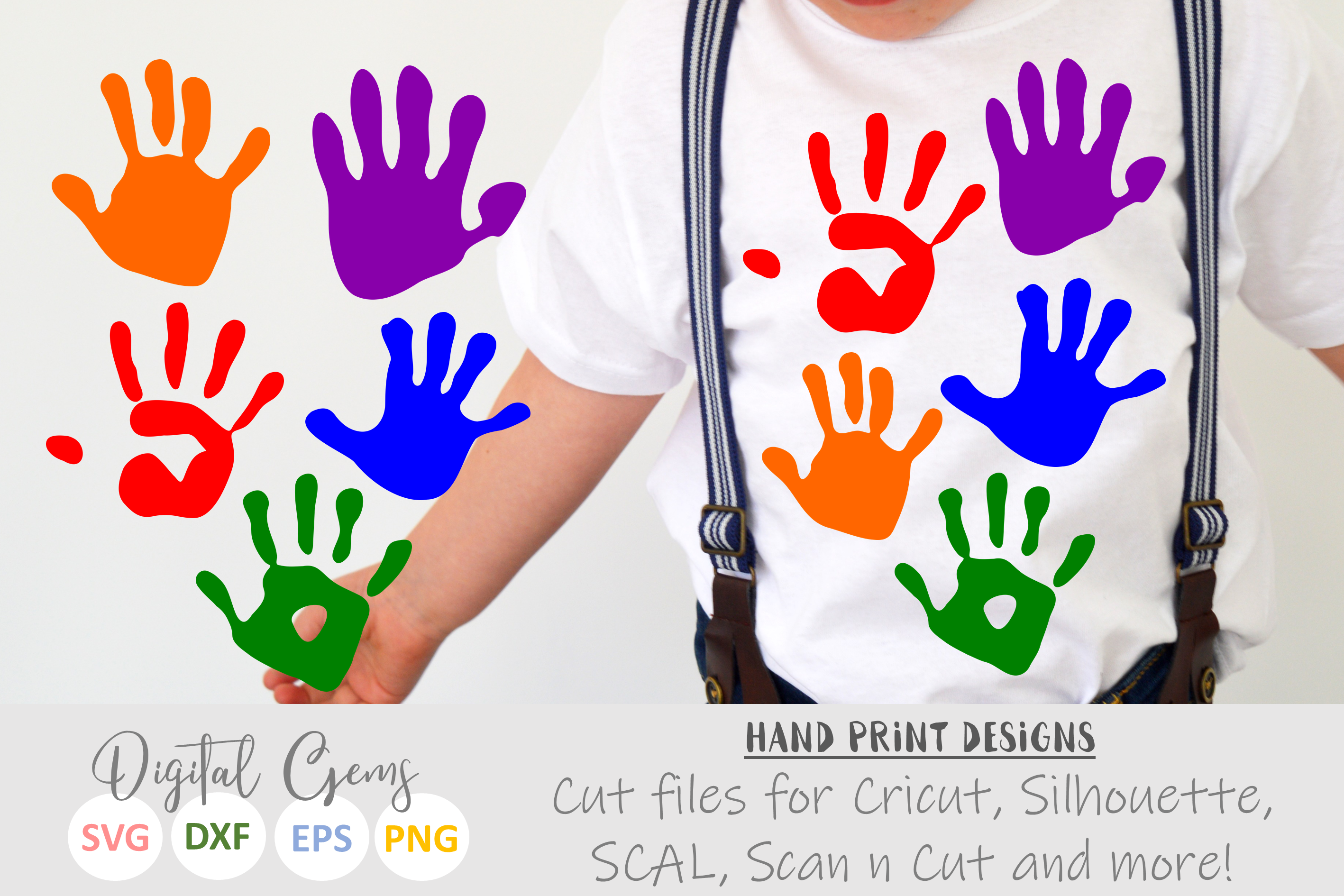 Hand Print SVG / PNG / DXF Files example image 1