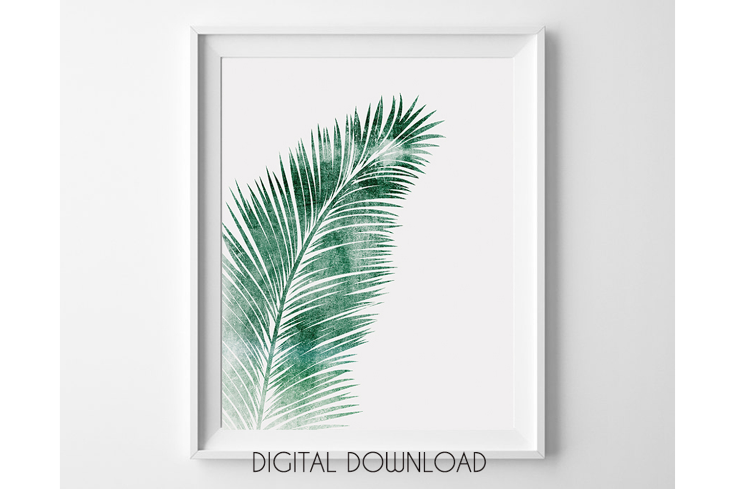 Green Palm Leaf Wall Art, Tropical Leaf for Living Room example image 1