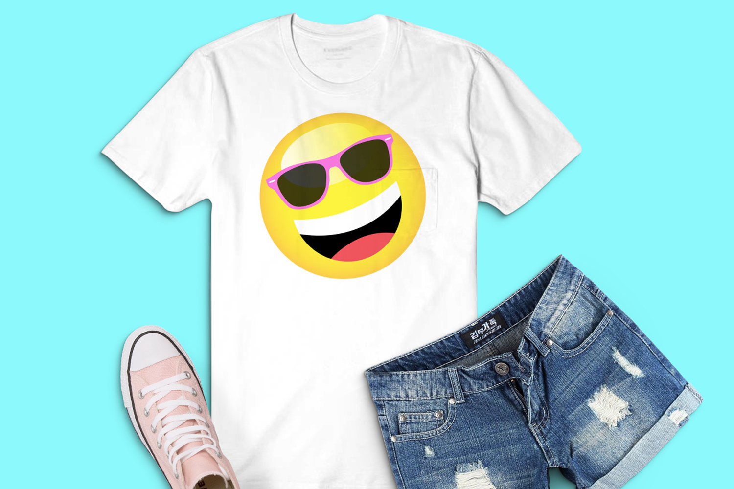 Summer Smiley Emoji Faces Graphic Clipart Bundle example image 3