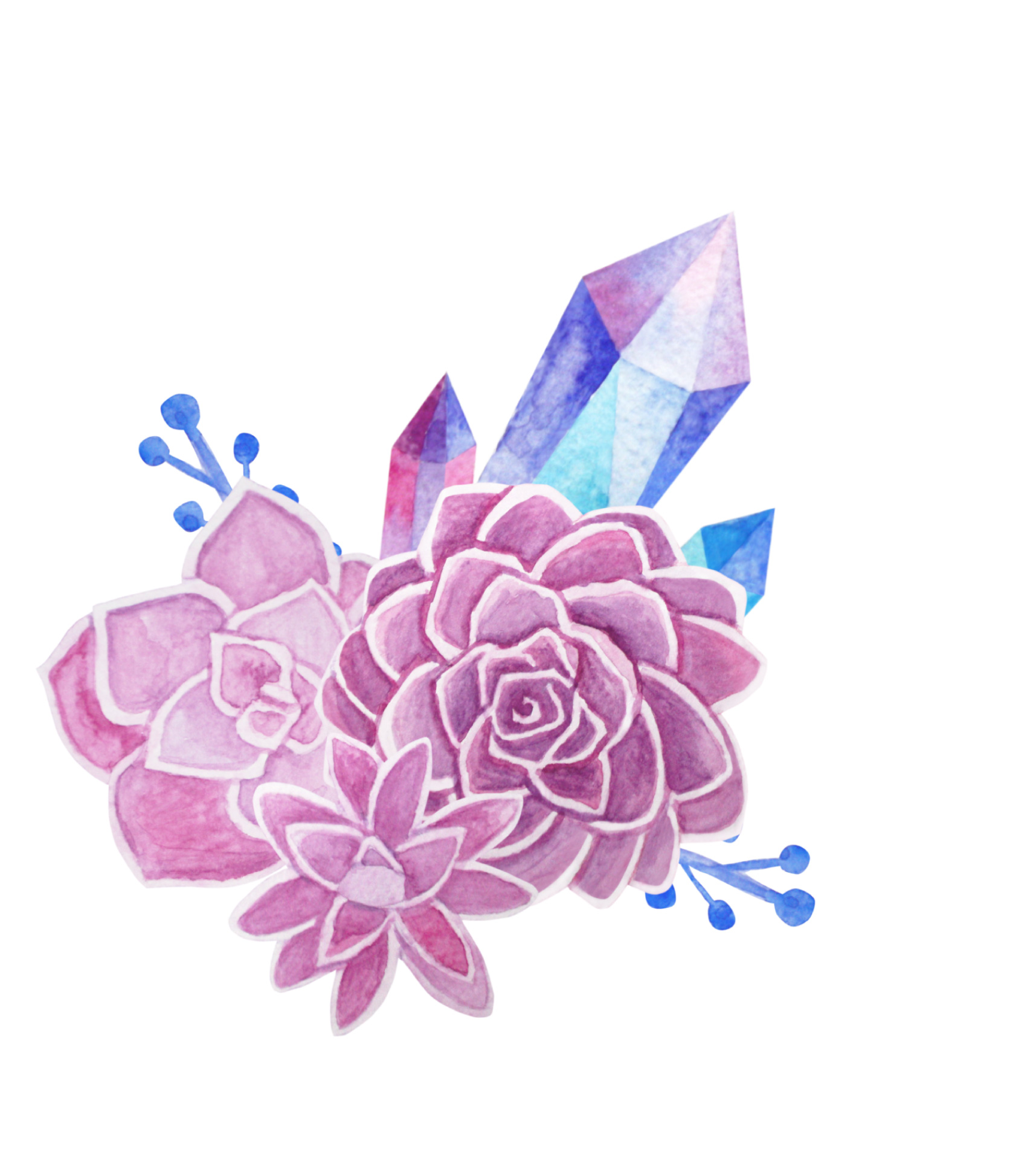 Succulents and Crystals Watercolor example image 4