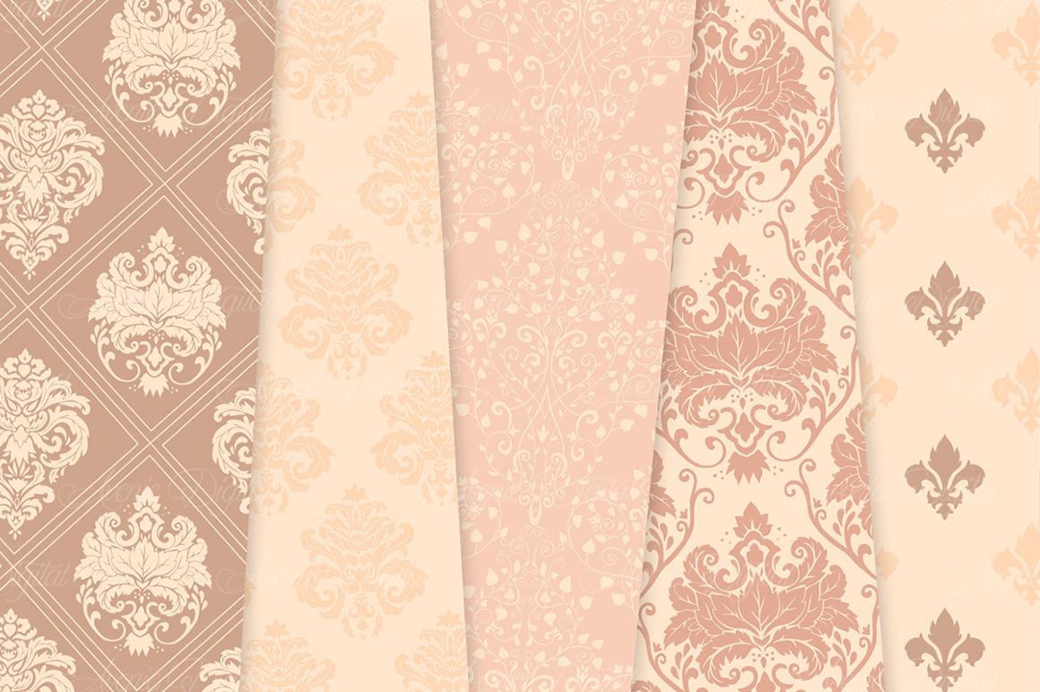 28 Nude Damask Patterns - Wedding Seamless Digital Papers Bundle example image 7