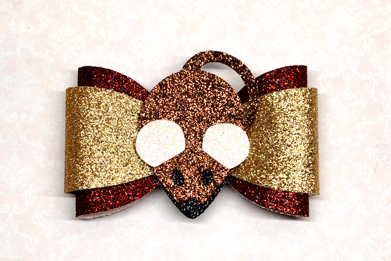 Mouse hair bow template SVG, DIY leather bow template example image 1