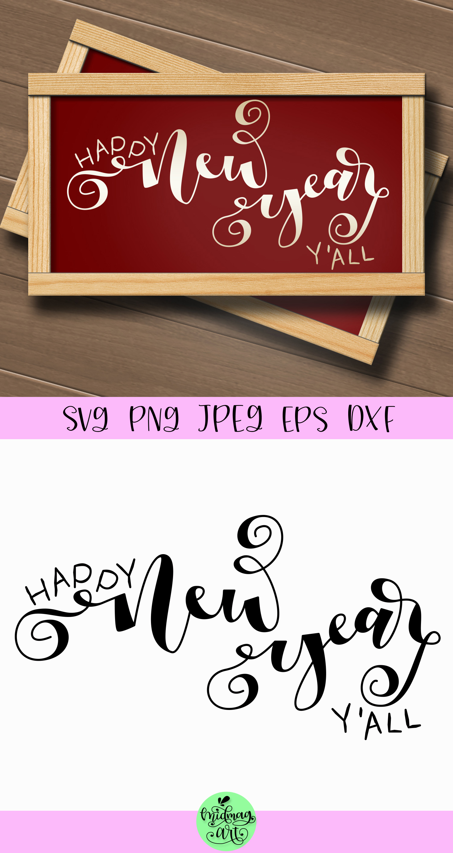 Happy new year yall sign svg, christmas svg example image 2