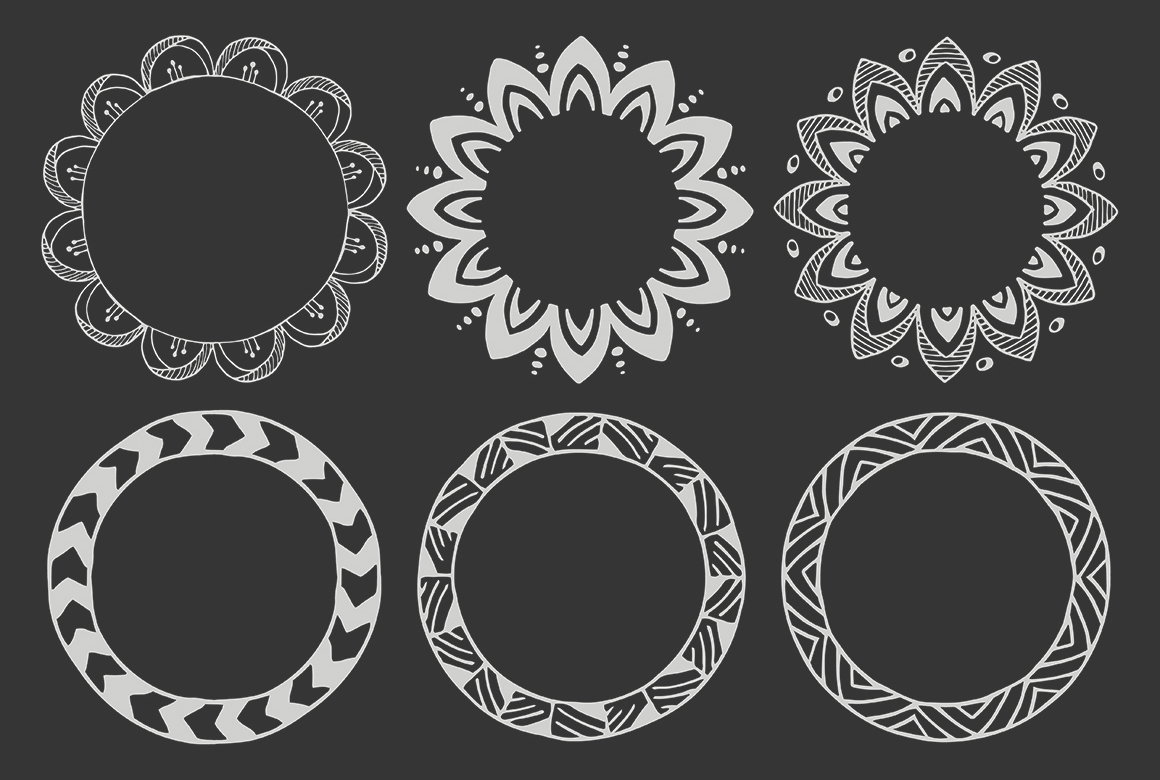 90 Hand Drawn Decorative Round Frames example image 9