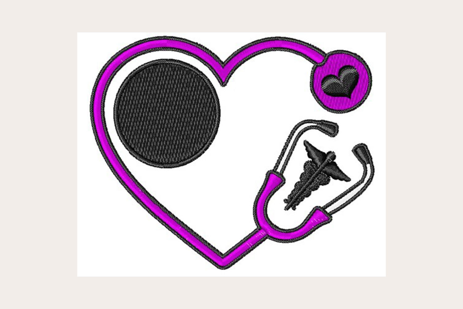 Stethescope Heart - Machine Embroidery Design example image 1