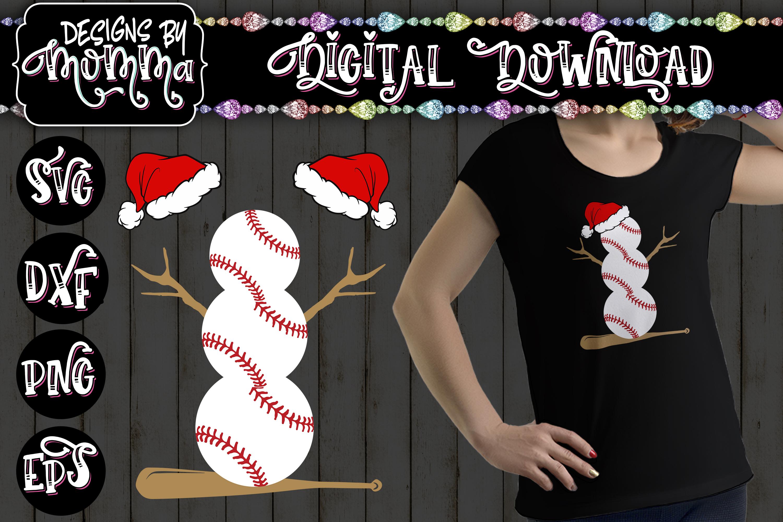 Baseball Snowman SVG example image 1