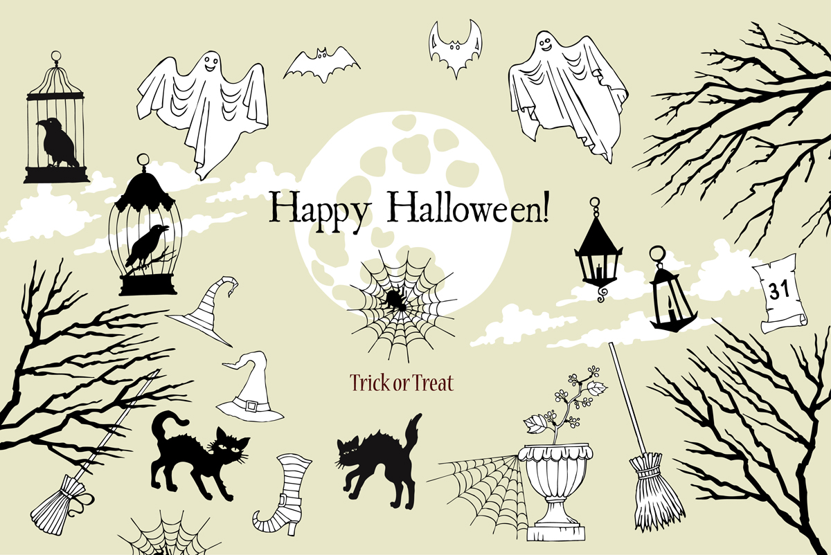 Halloween. Sketches and Silhouettes example image 2