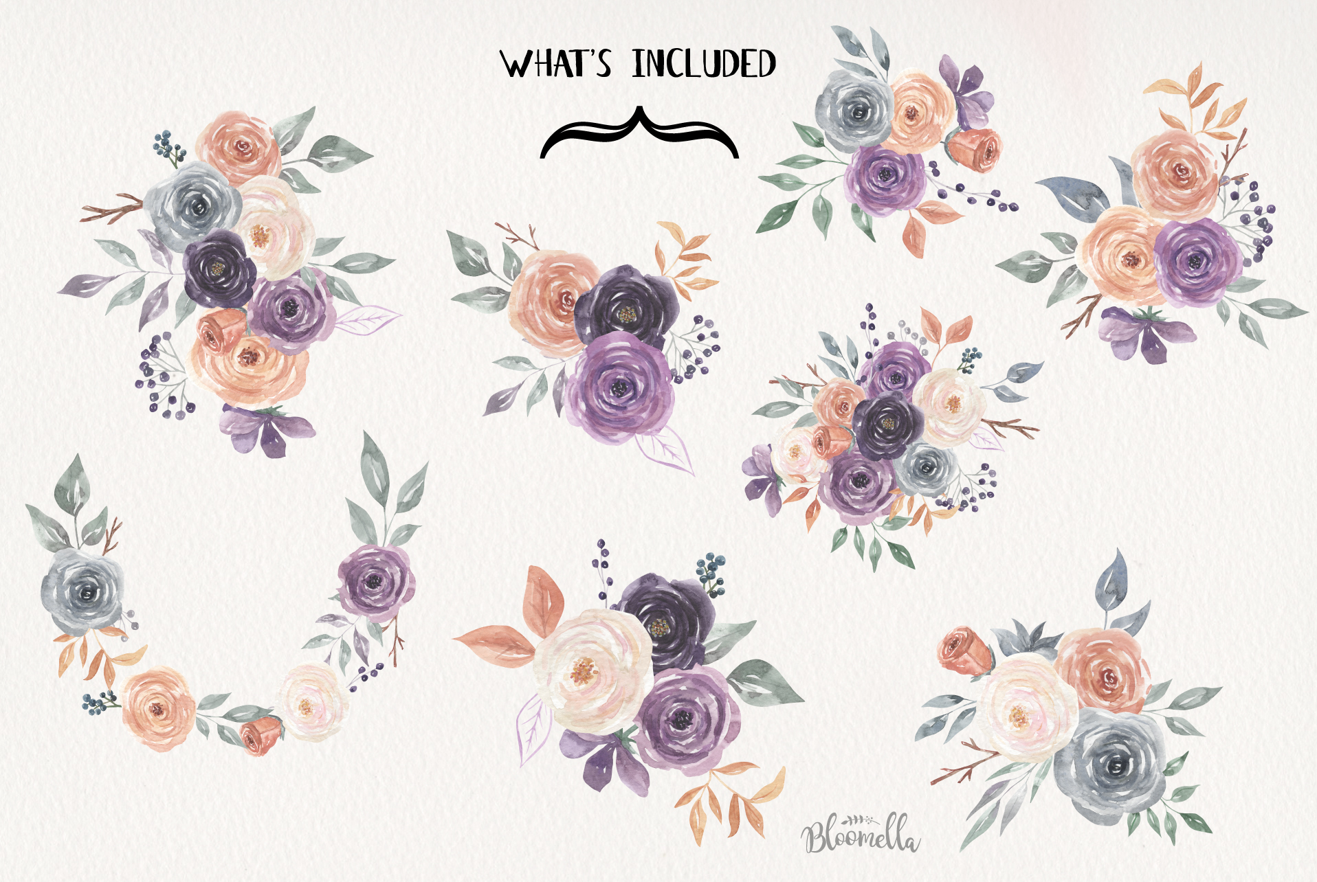 Mystical Watercolor 8 Clipart Bouquets Flowers Berries example image 7