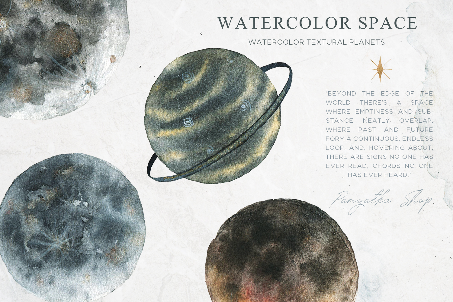 Watercolor space planets- moon clipart example image 1