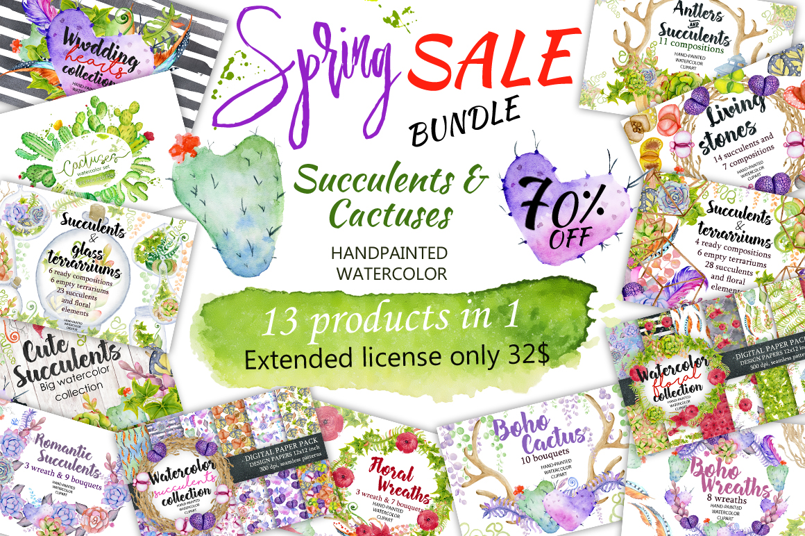 Spring Sale succulents & cactuses watercolor bundle 75% OFF! example image 1