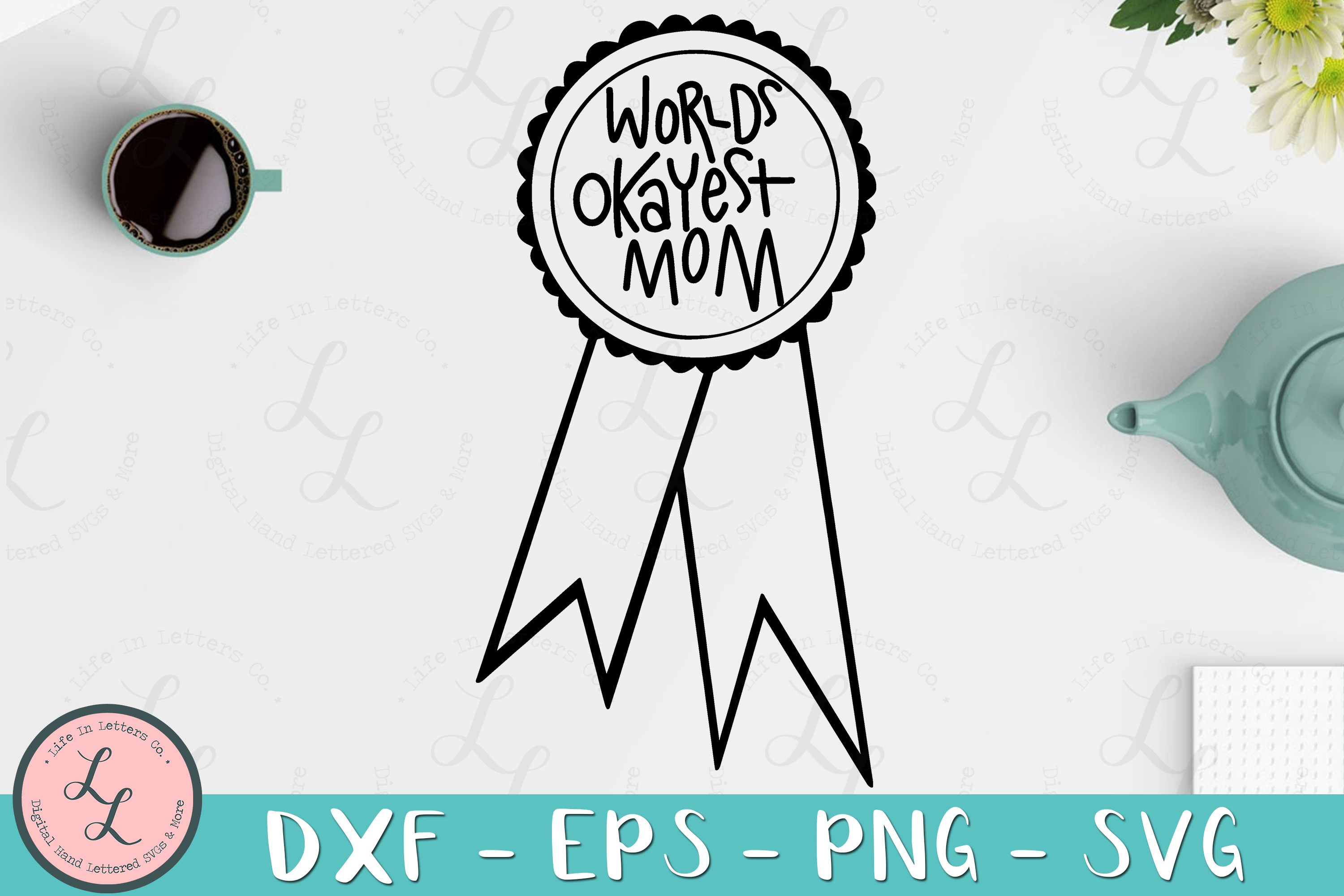 World's Okayest Mom Ribbon- Cut File, SVG, PNG, EPS, DXF example image 1