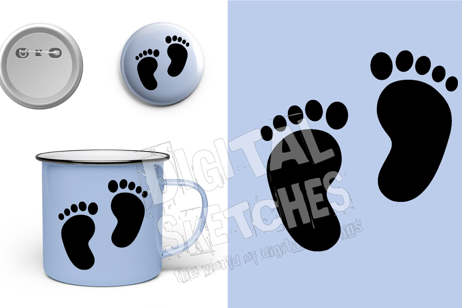 Baby Feet Cut File Vector Graphics example image 1