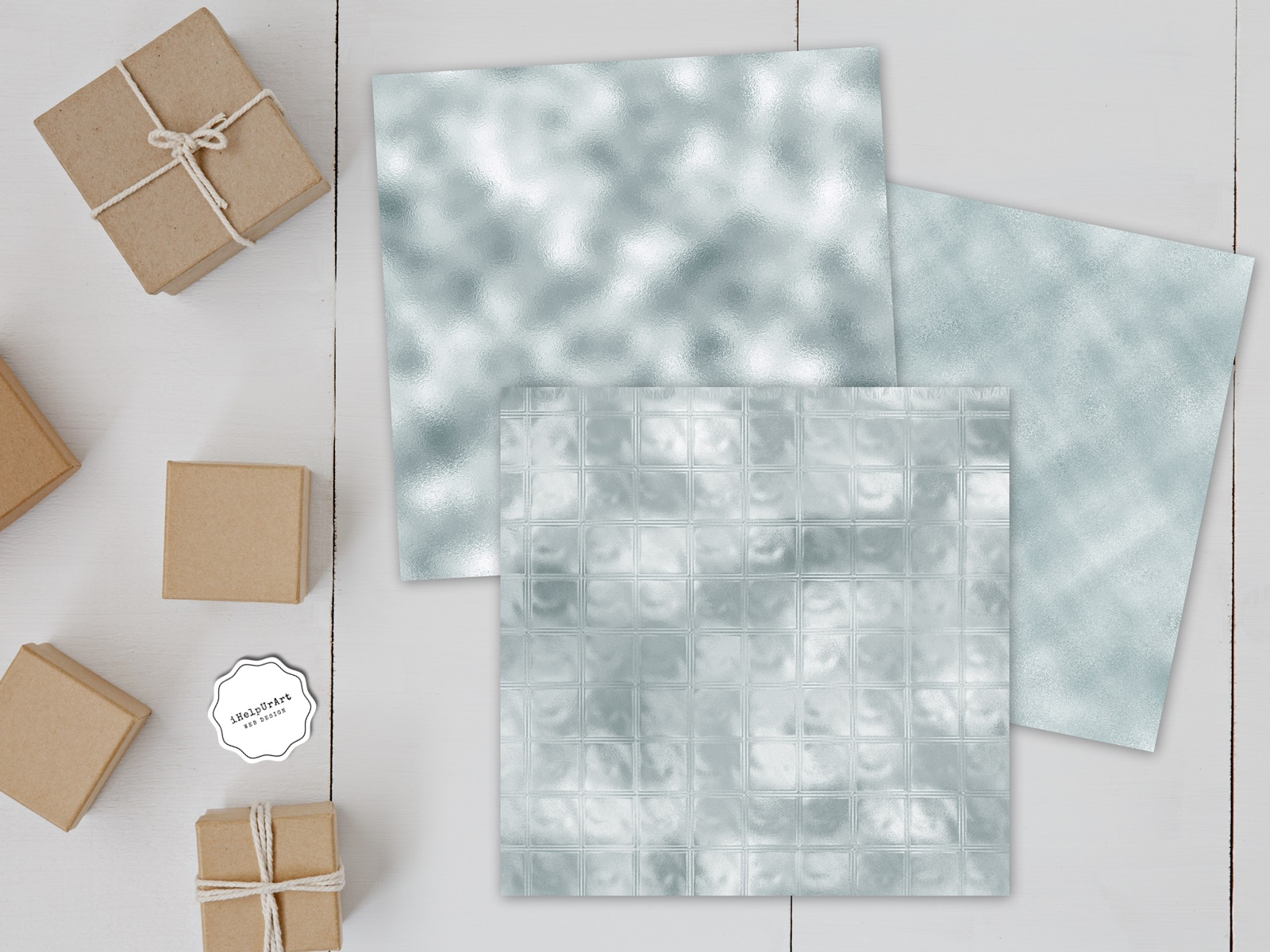 Minty Metallic Texture Papers example image 2