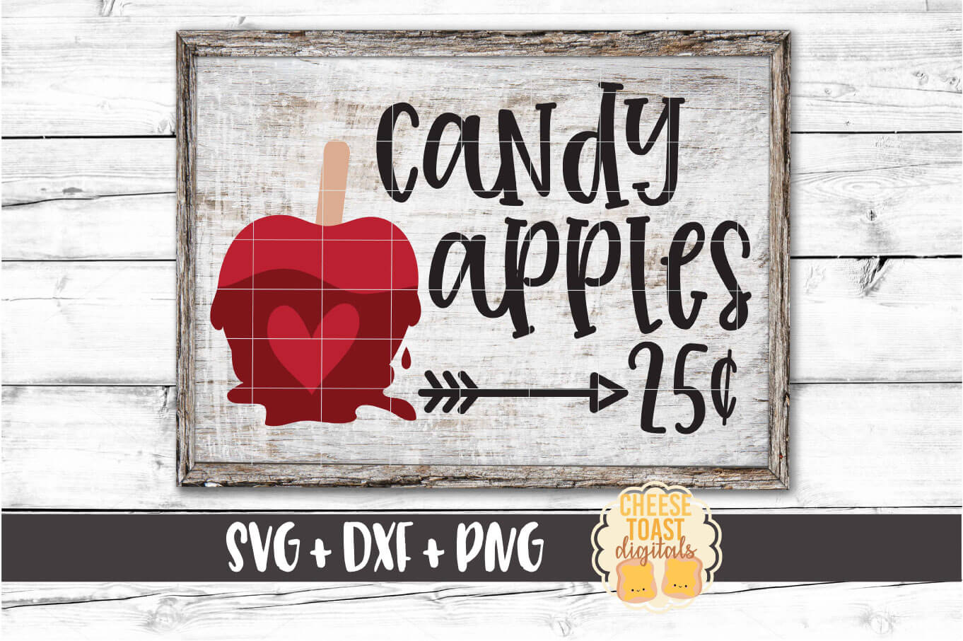 Candy Apples 25 Cents - Fall Sign SVG PNG DXF Cut Files example image 1