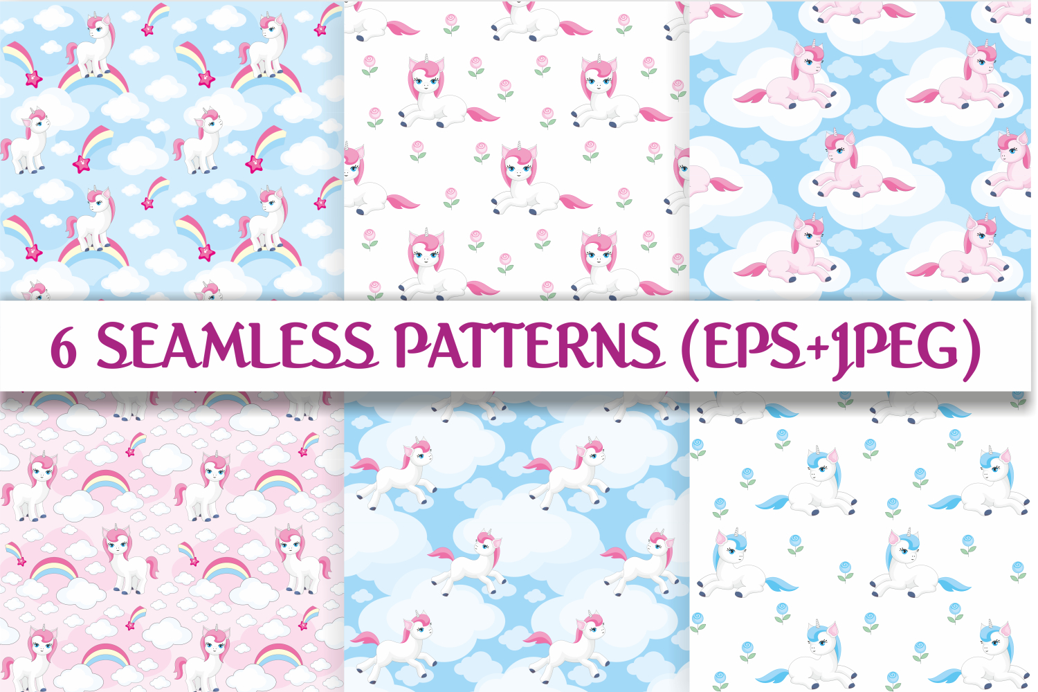 Magic unicorns. Vector elements and patterns. example image 3