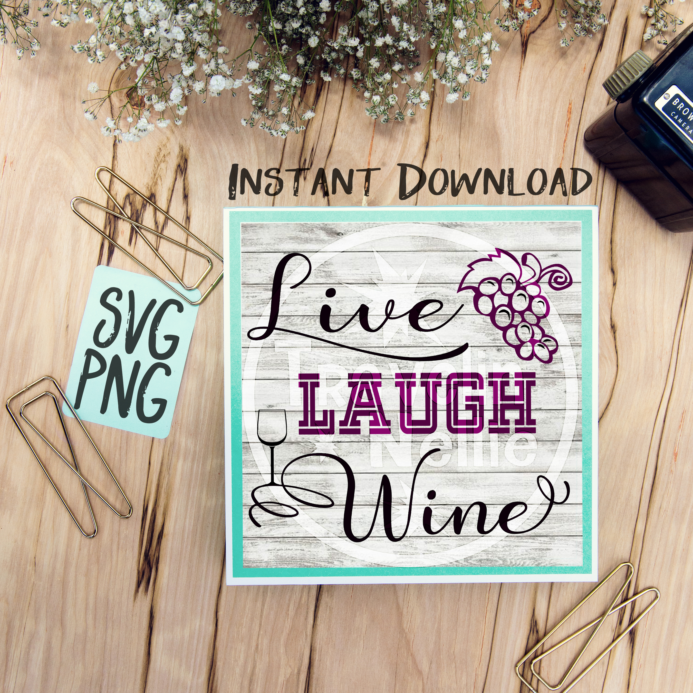 Live Love Wine SVG PNG for Cutting Machines Cricut Cameo Brother Cut Print Files Instant Download Image Sign Scrapbooking example image 1