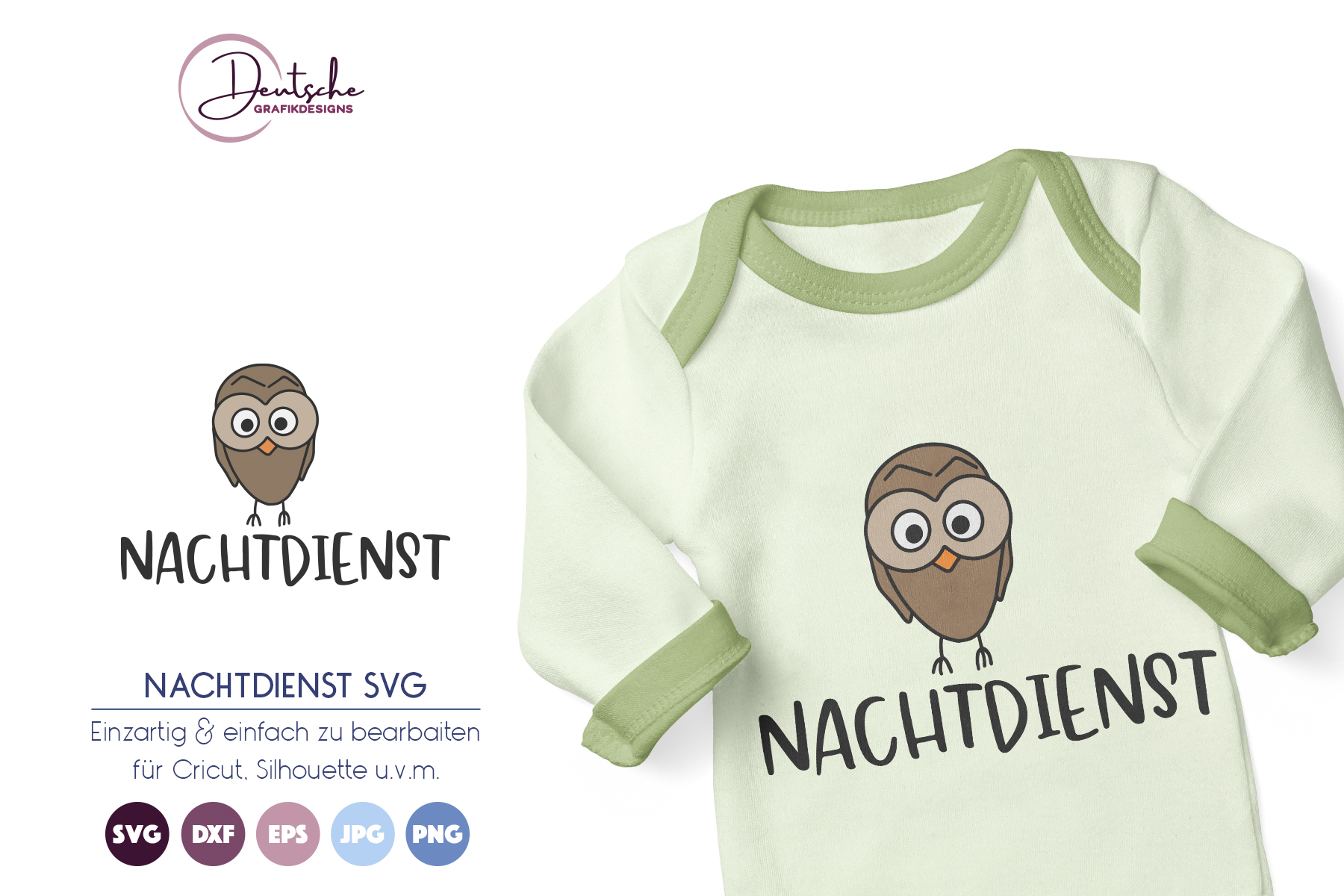 Eule SVG   Nachtdienst SVG example image 1