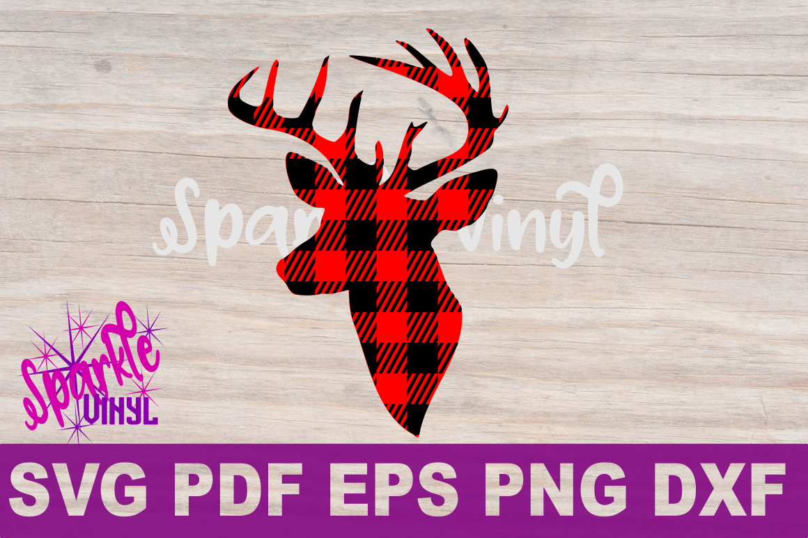 Buffalo Plaid Reindeer Deer Head Silhouette Printable svg cut files for silhouette or cricut example image 2